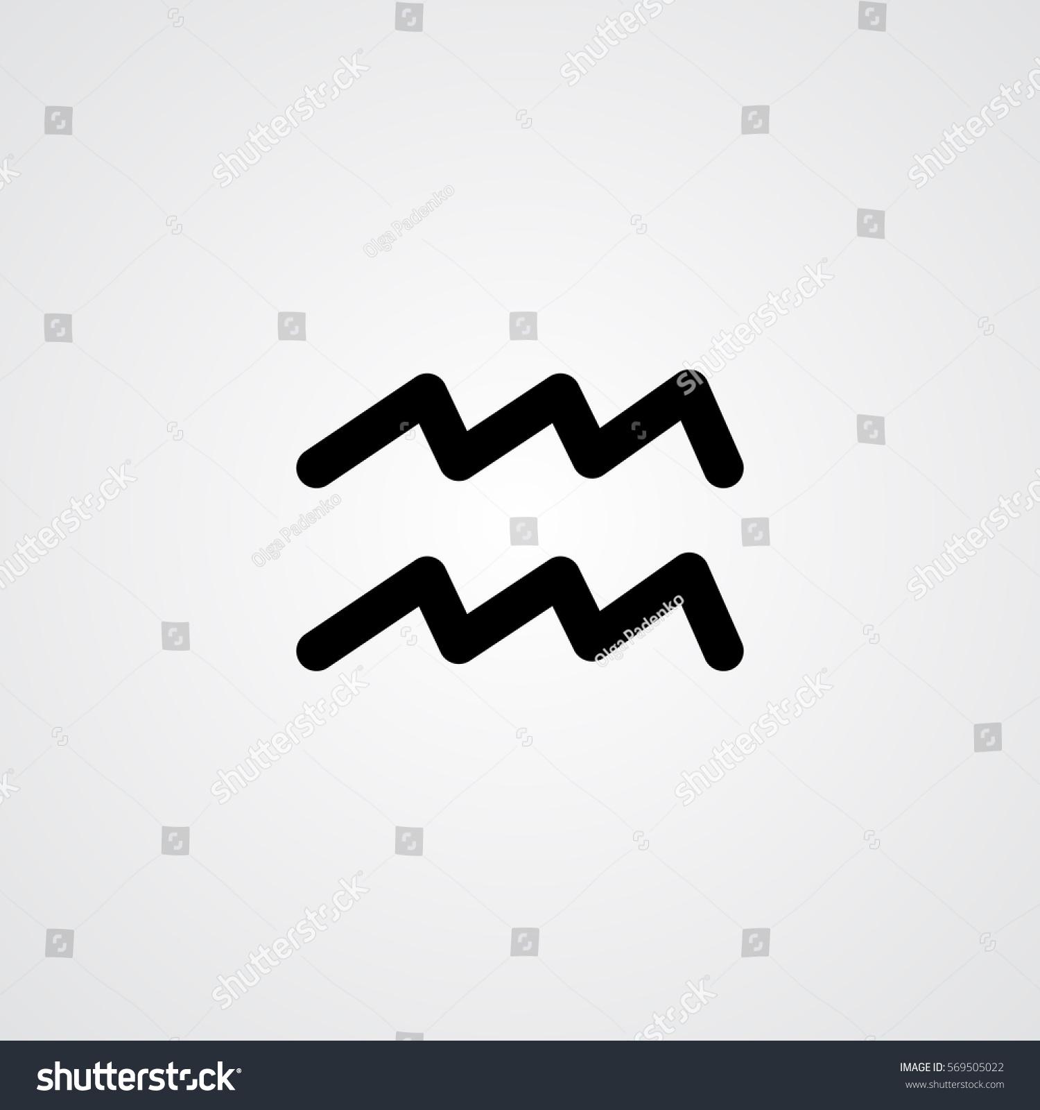 Aquarius zodiac symbol black zodiac flat stock vector 569505022 aquarius zodiac symbol black zodiac flat isolated icon on the gray background buycottarizona