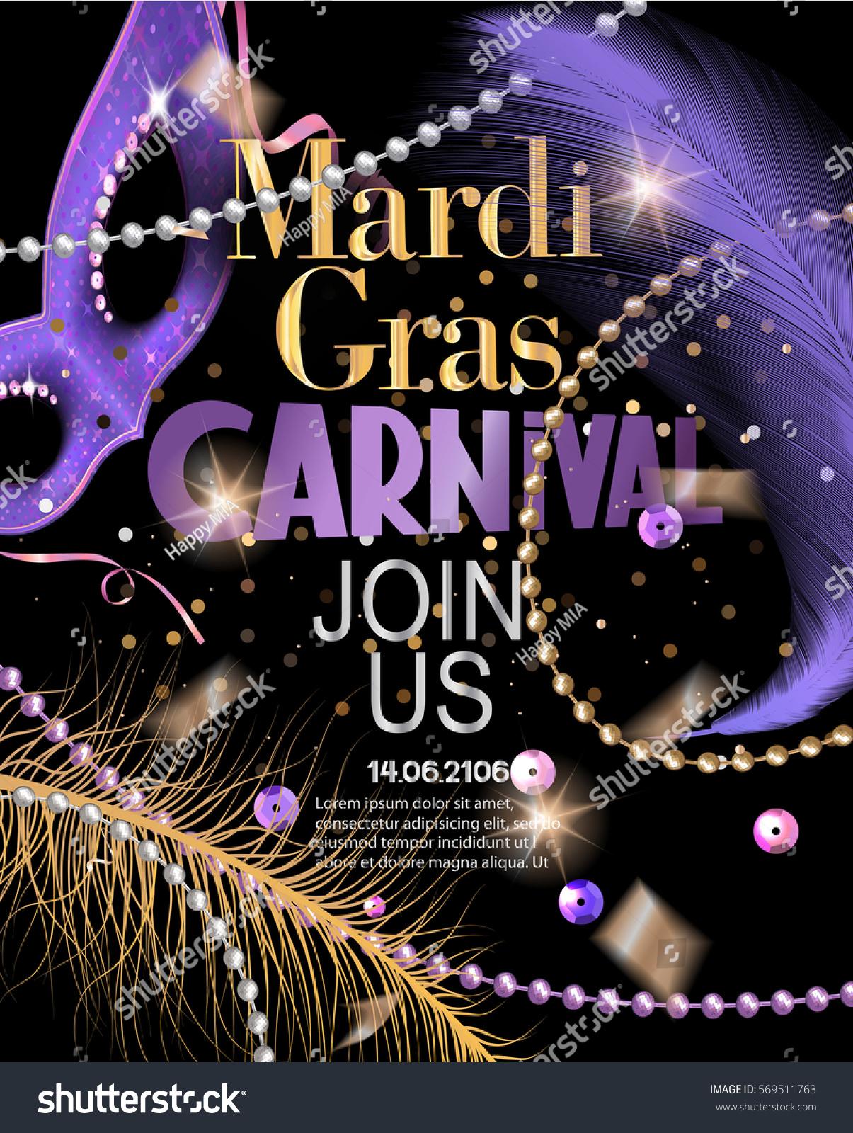 Mardi Gras Party Invitation Card Flying Stock Vector 569511763 ...