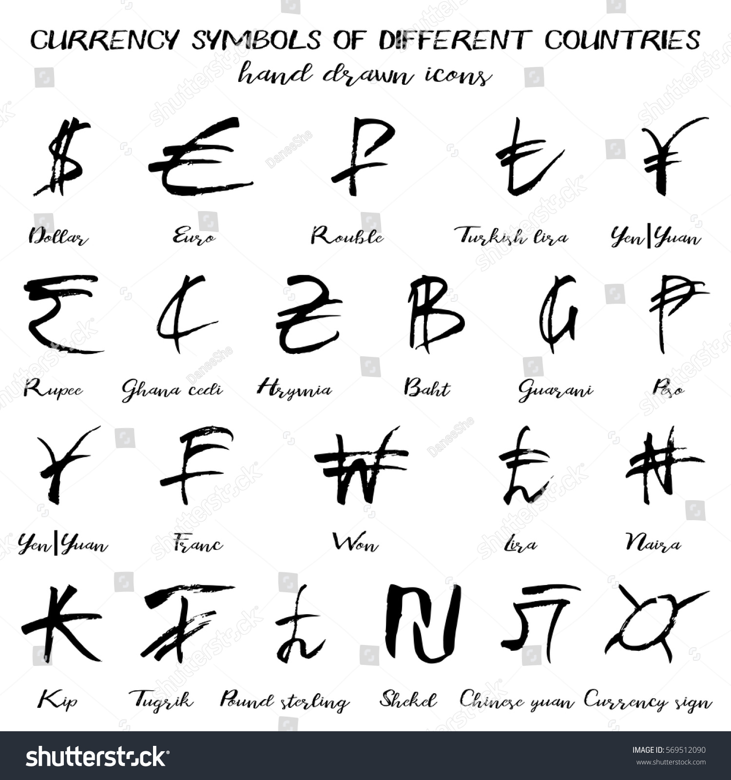 Set currency symbols world hand drawn stock vector 569512090 set of currency symbols of world in hand drawn technique and grunge style isolated on white biocorpaavc Image collections