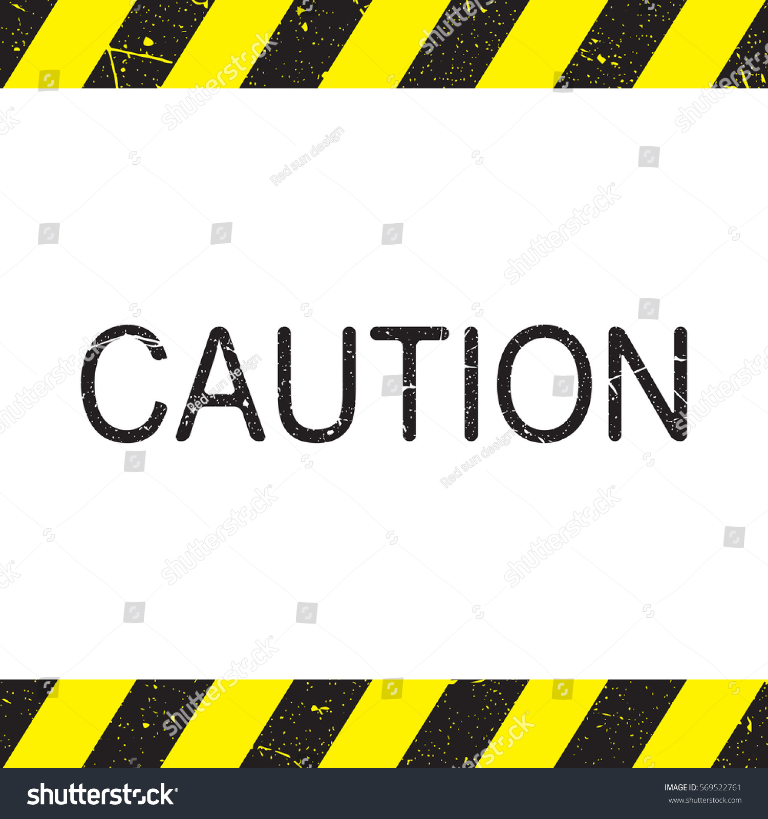 Caution Sign Line Yellow Black Color Stock Vector Royalty Free