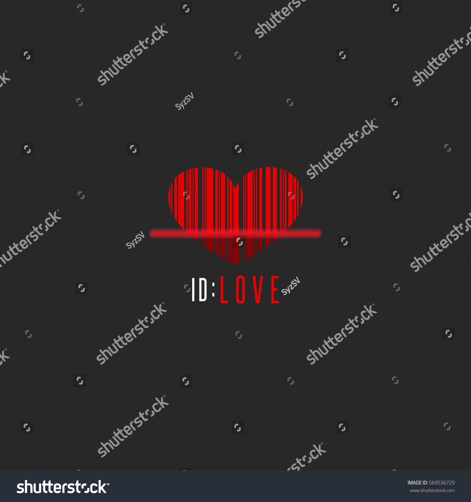 Red Heart Shape Barcode Scanner Creative Stock Vector 569536729 .