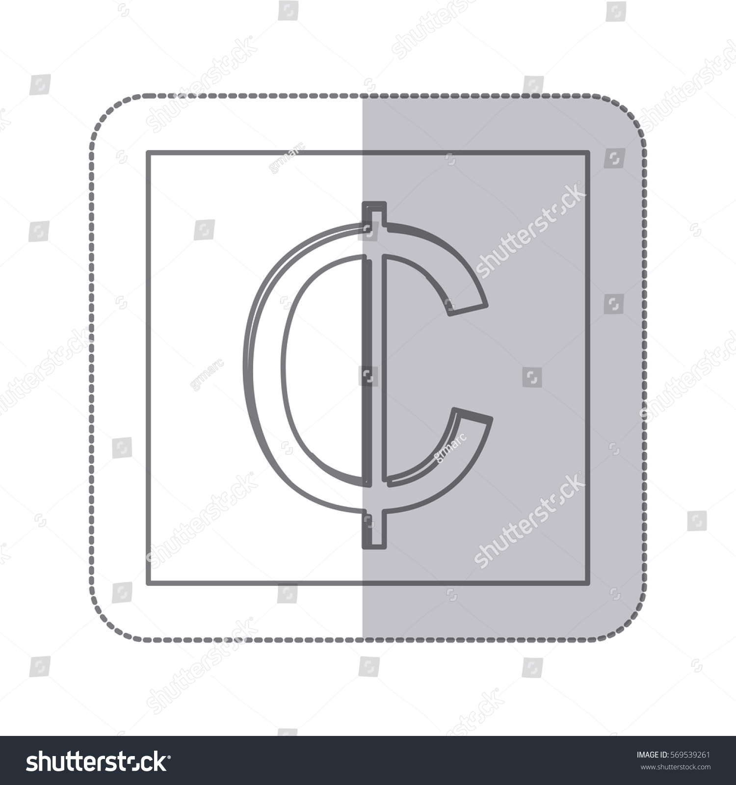 Middle Shadow Monochrome Square Currency Symbol Stock Vector