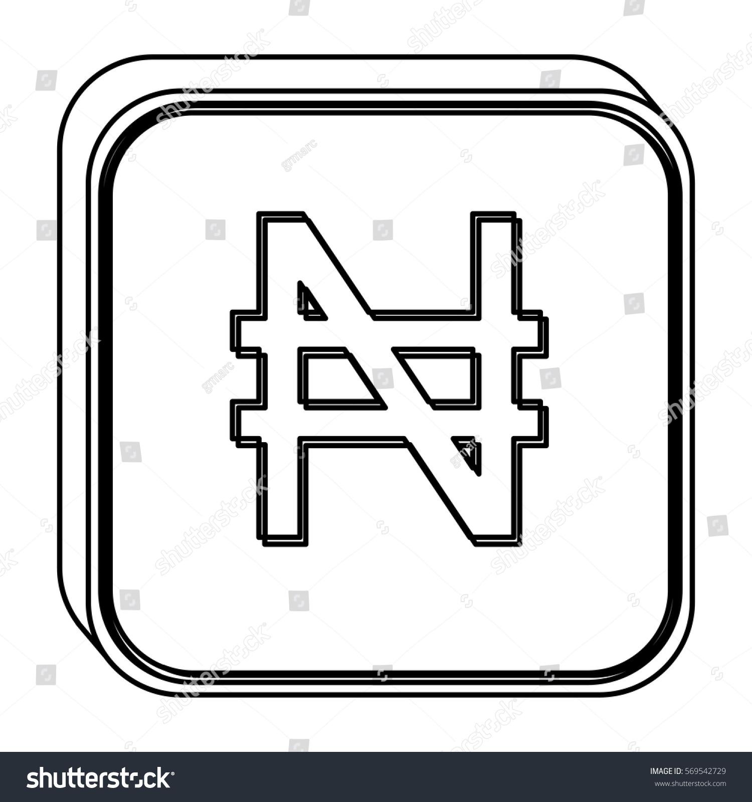 Monochrome Square Contour Currency Symbol Nigerian Stock Vector