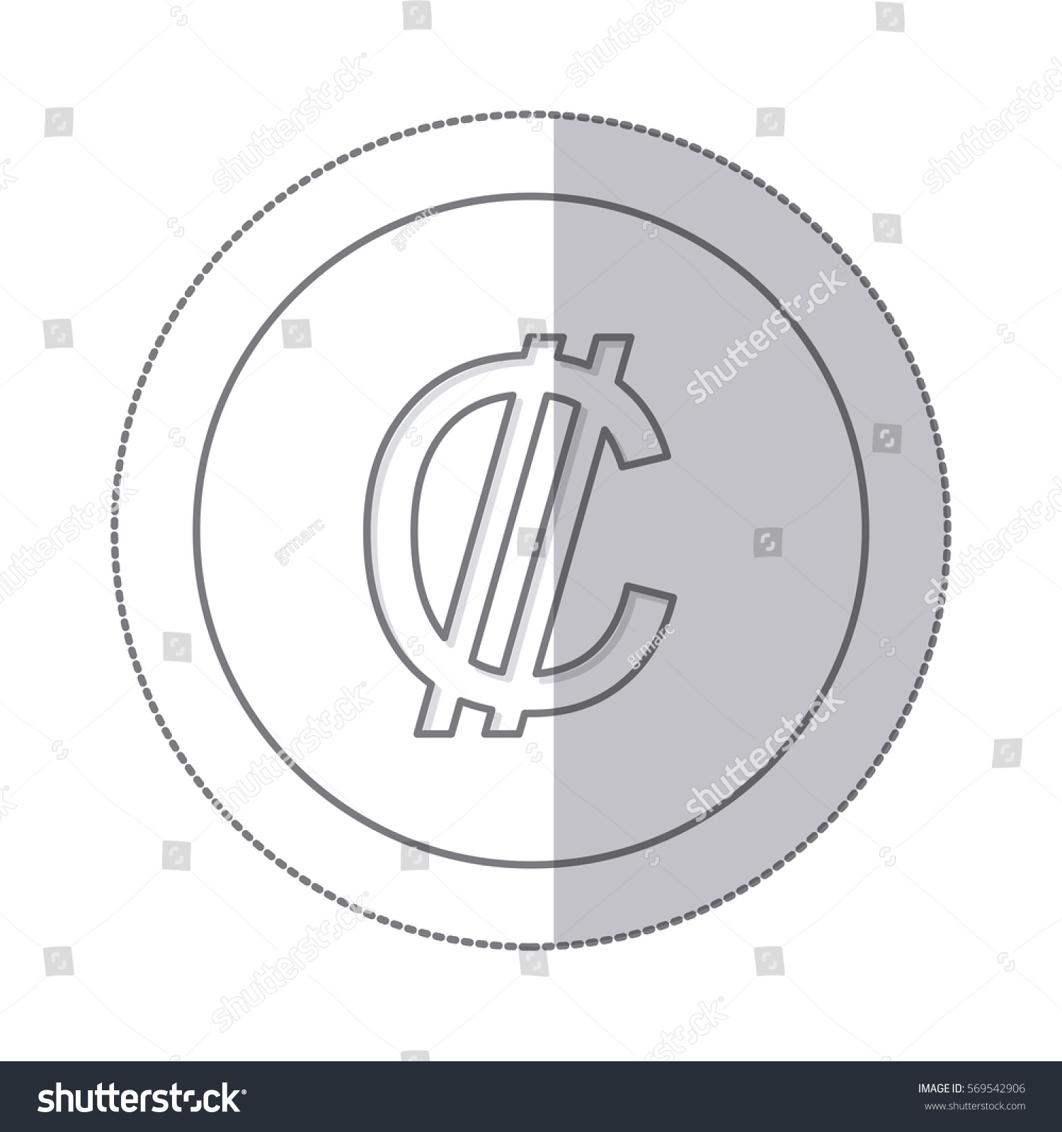 Middle Shadow Monochrome Circle Currency Symbol Stock Vector Hd