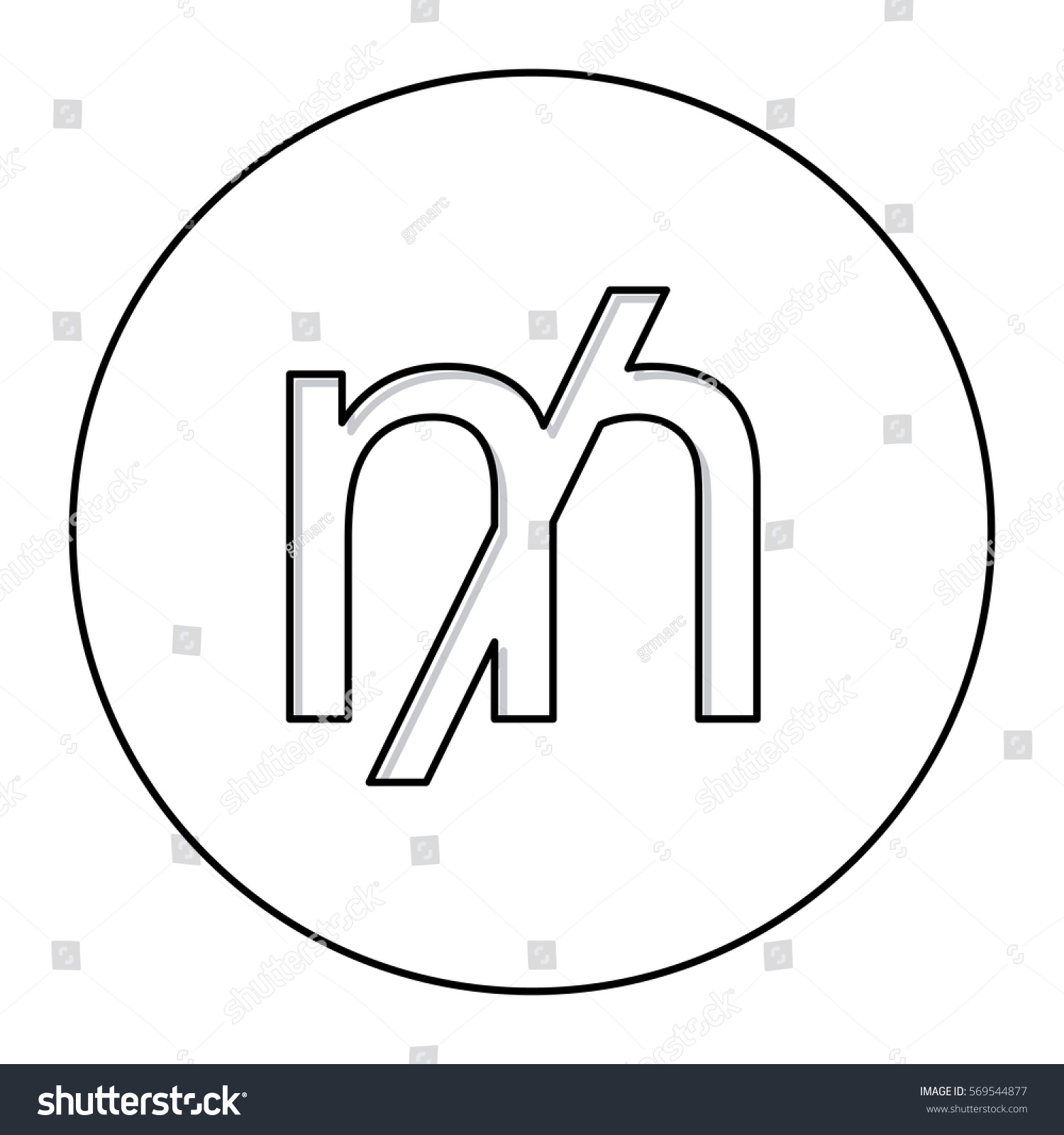 Monochrome contour currency symbol mill circle stock vector monochrome contour with currency symbol of mill in circle buycottarizona Gallery