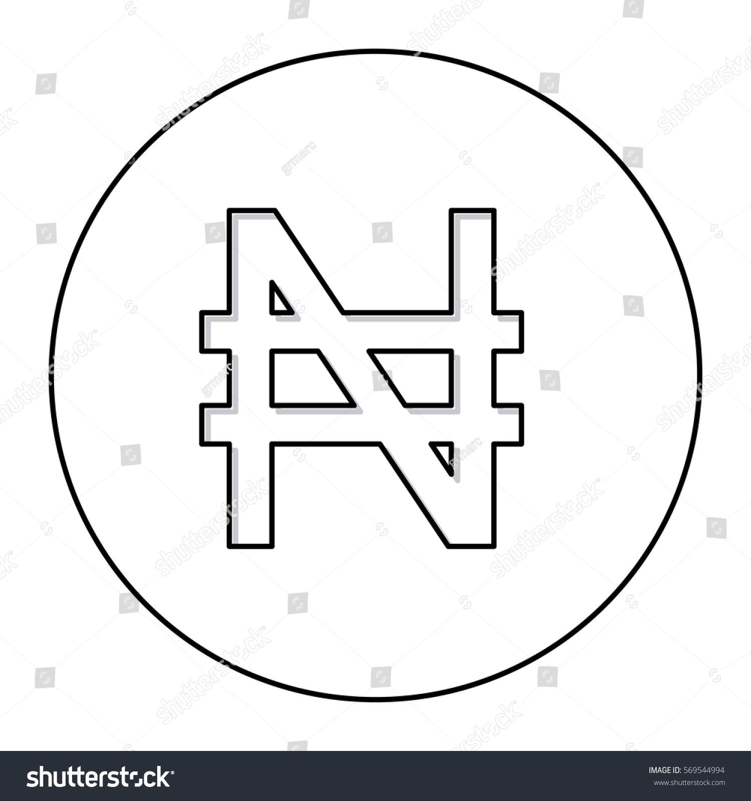 Monochrome Contour Currency Symbol Nigerian Naira Stock Vector