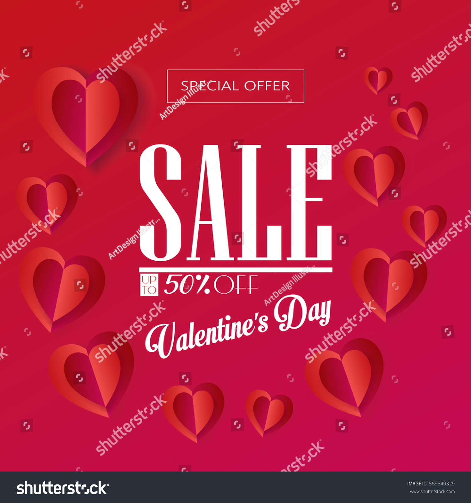 Sale Discount Poster For Valentines Day Holiday Vector Template