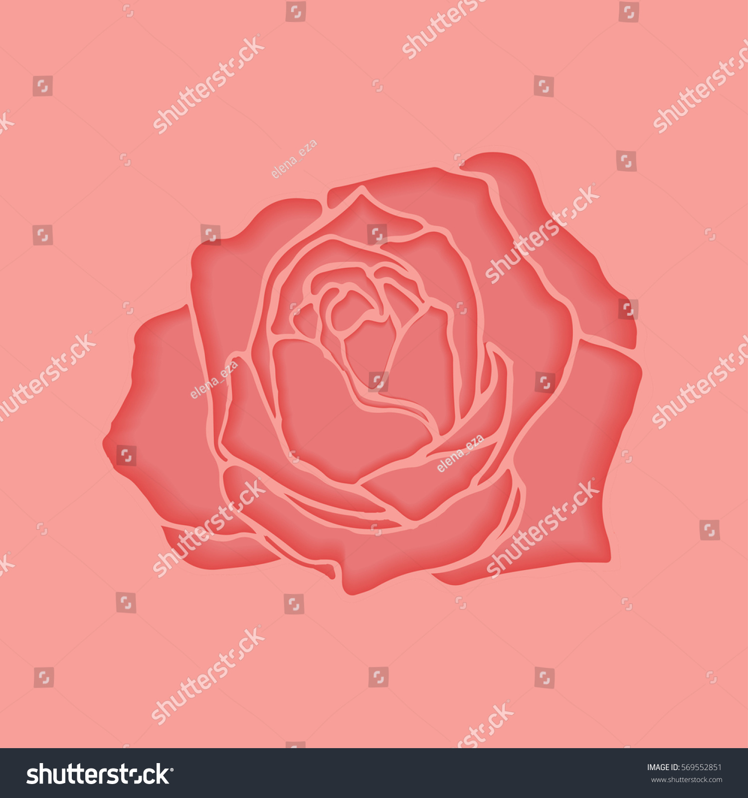 Cut Paper Pink Rose Backgrounds Cards Stock Vector 569552851 ...