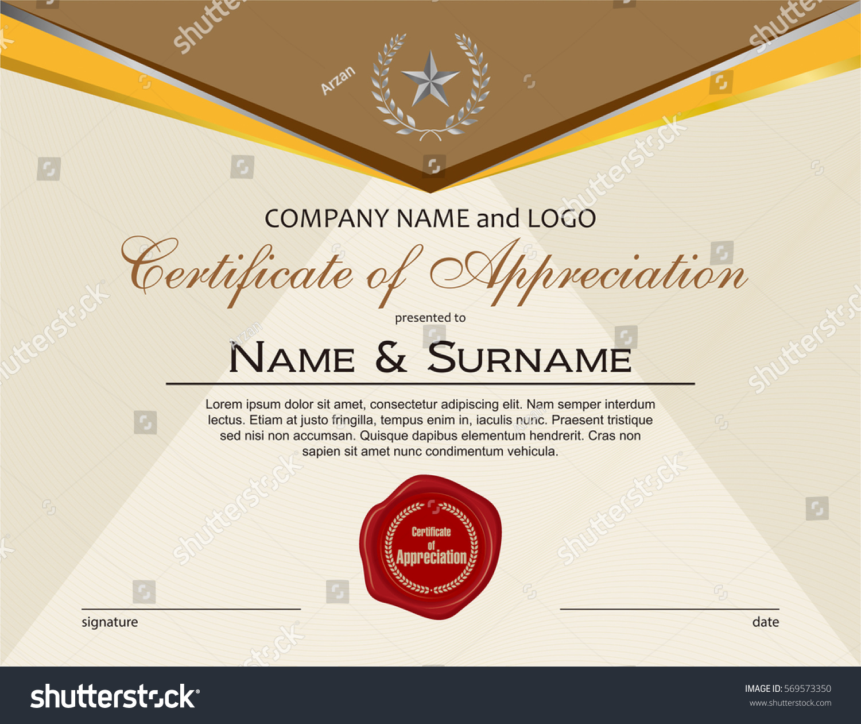 Certificate appreciation wax seal stock vector 569573350 certificate of appreciation with wax seal yadclub Images
