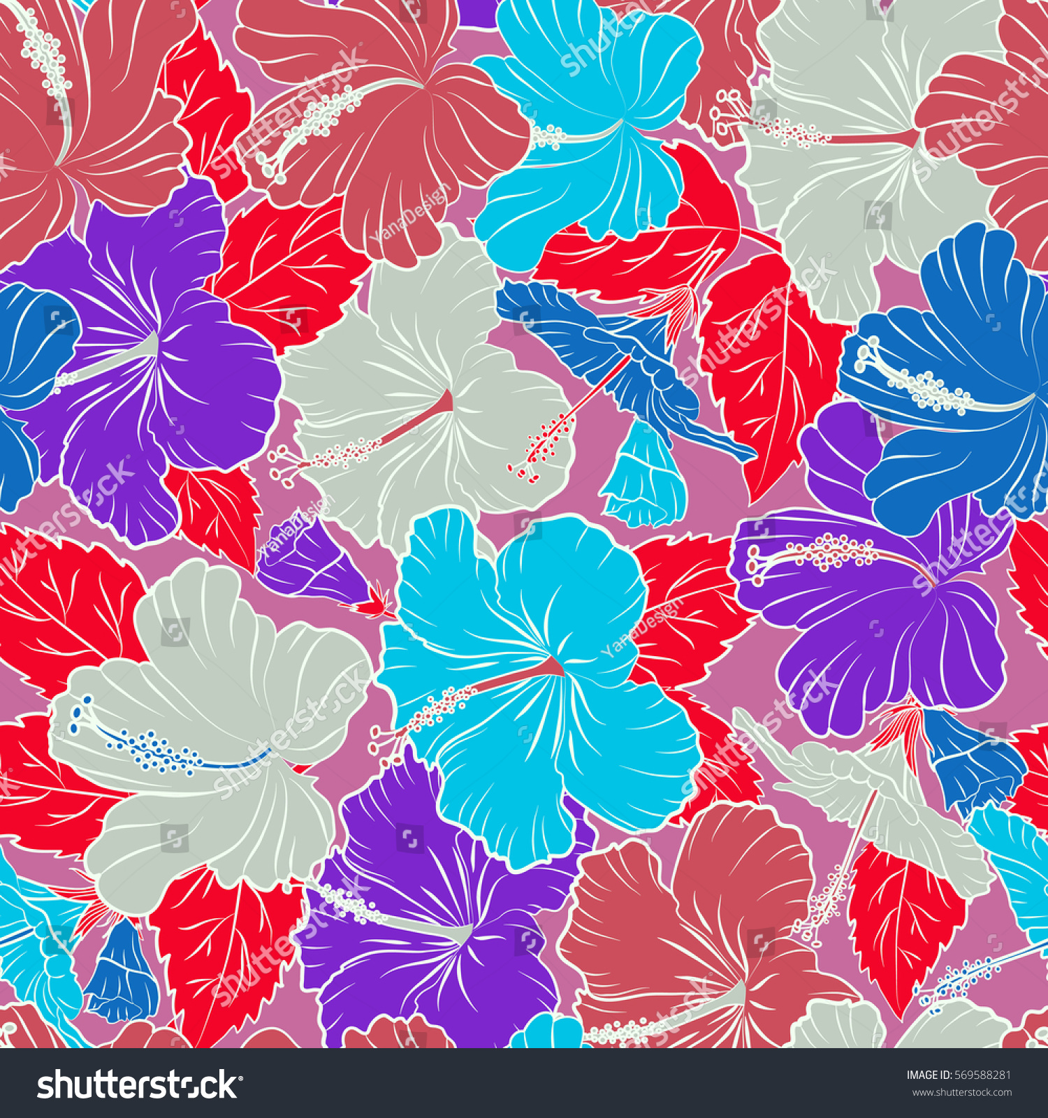 Tropical Leaves And Violet Pink And Blue Flowers Seamless Pattern
