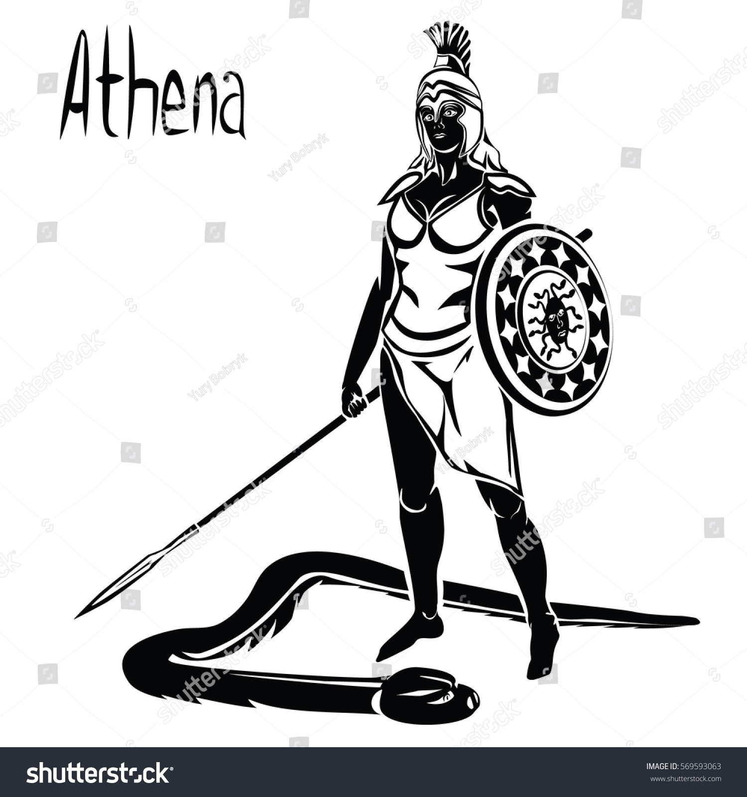 Goddess Greek Athena Roman Minerva Black Stock Vector Royalty Free