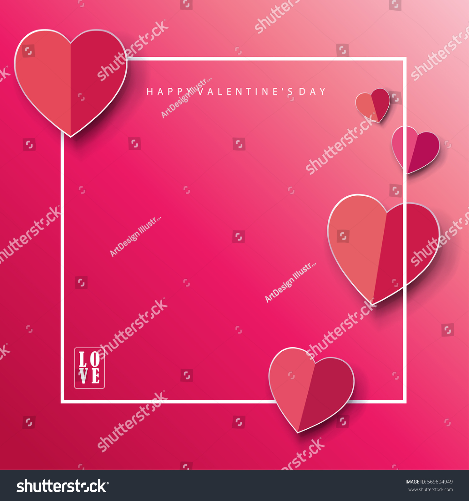 Happy Valentines Day Greeting Card Frame Stock Vector Royalty Free
