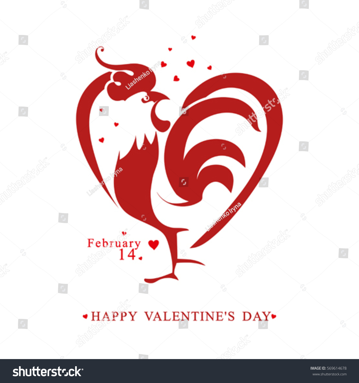 Heart rooster template valentines day symbol stock vector heart rooster template for valentines day symbol on the chinese calendar buycottarizona