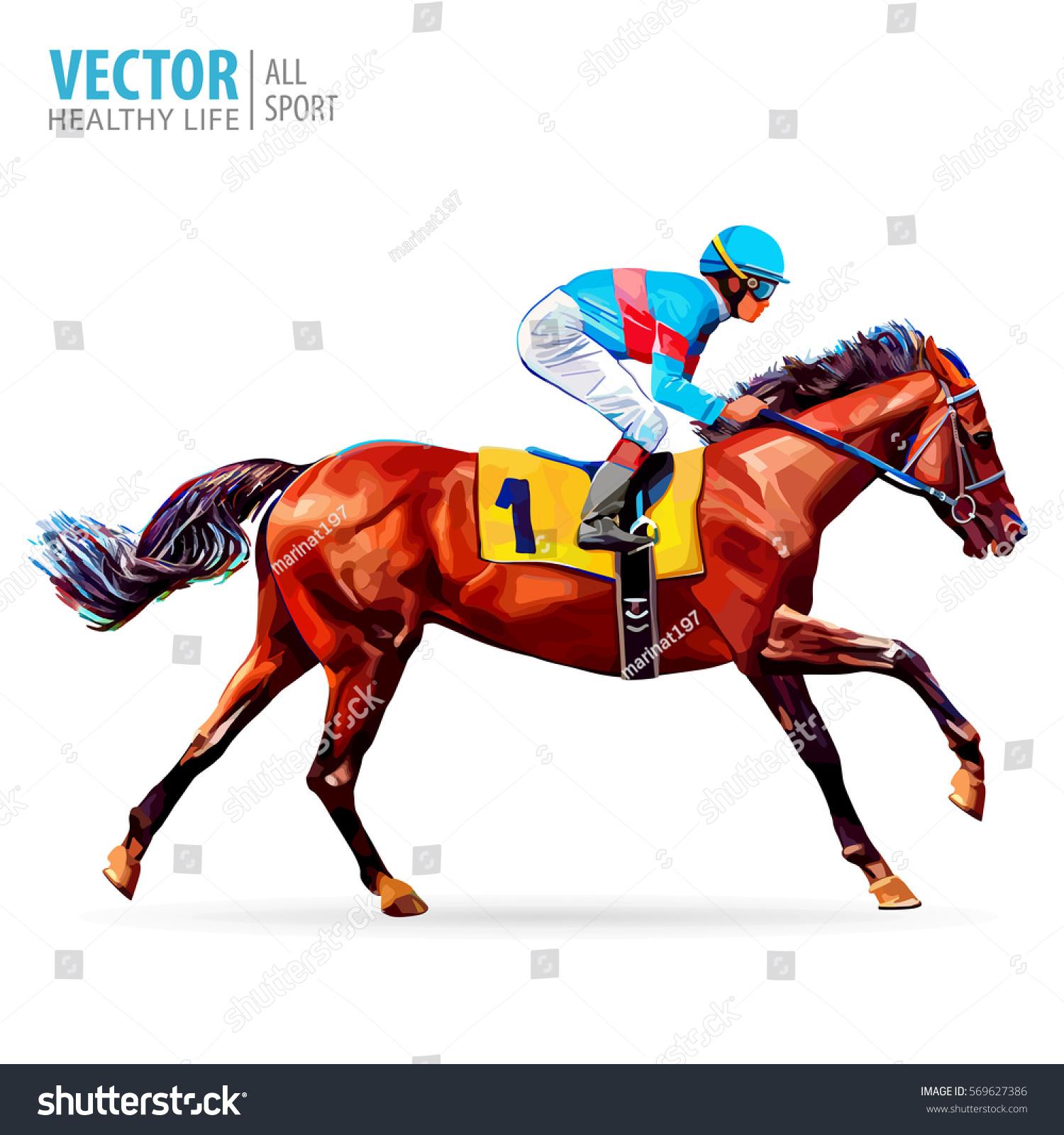 Jockey On Horse Champion Horse Racing Stock Vector