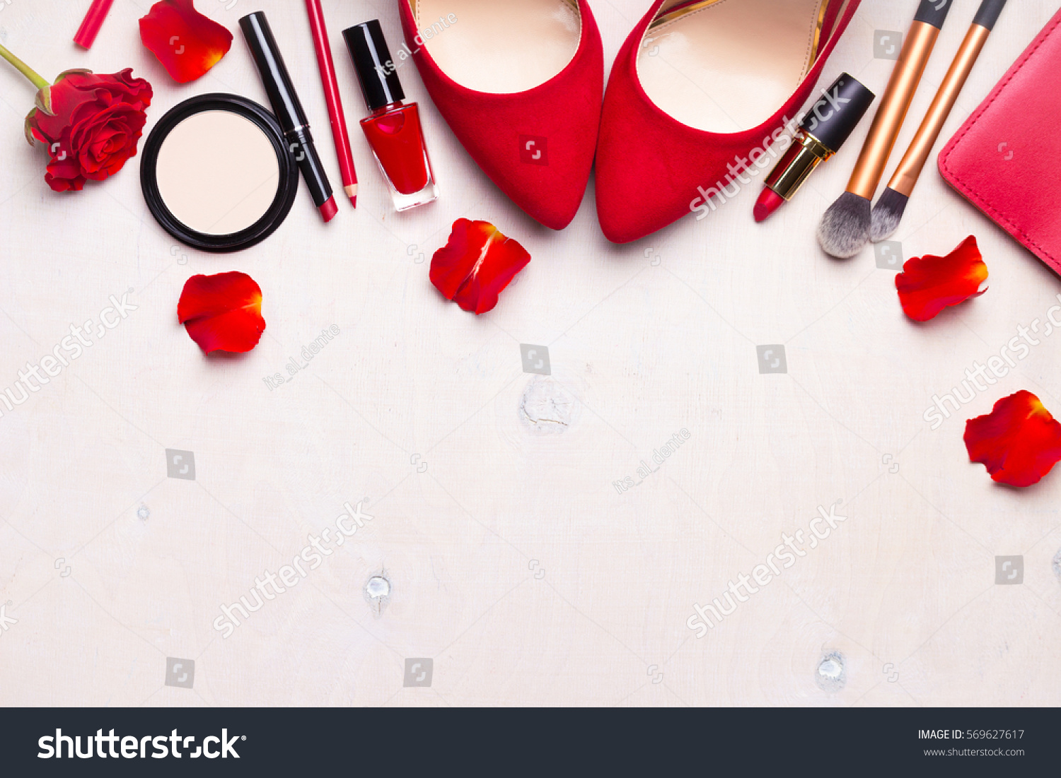 Beauty cosmetic white background. Makeup essentials. Shoes, red lipstick, powder, brushes