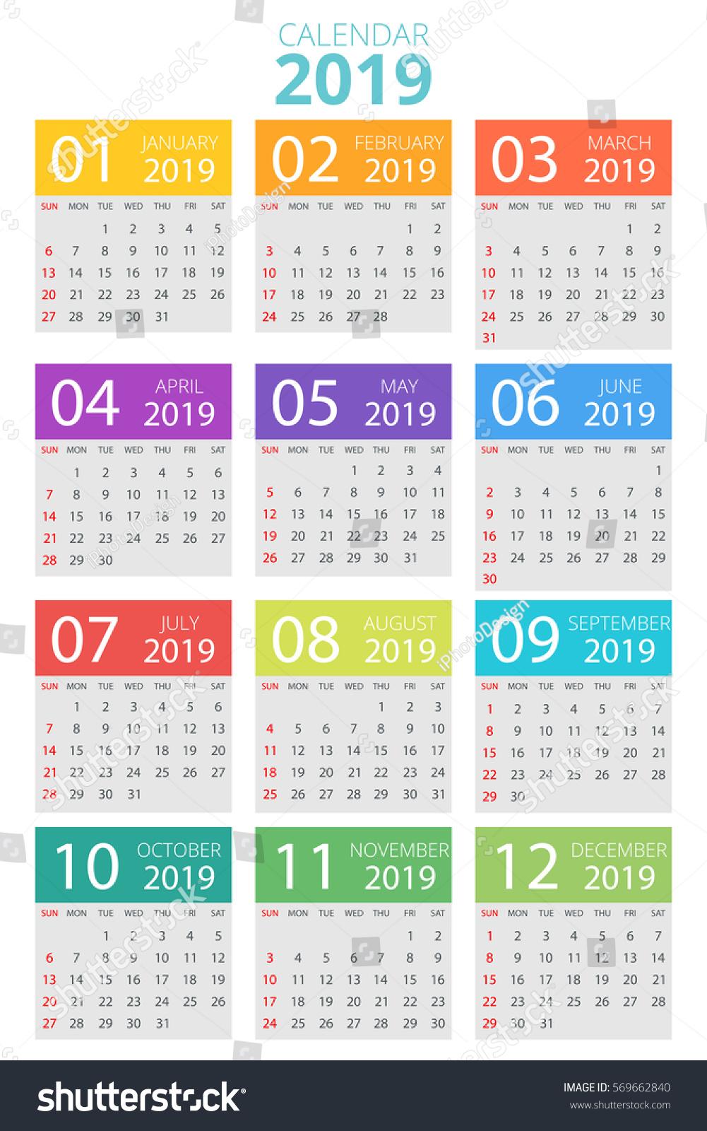 stock vector colorful calendar 569662840