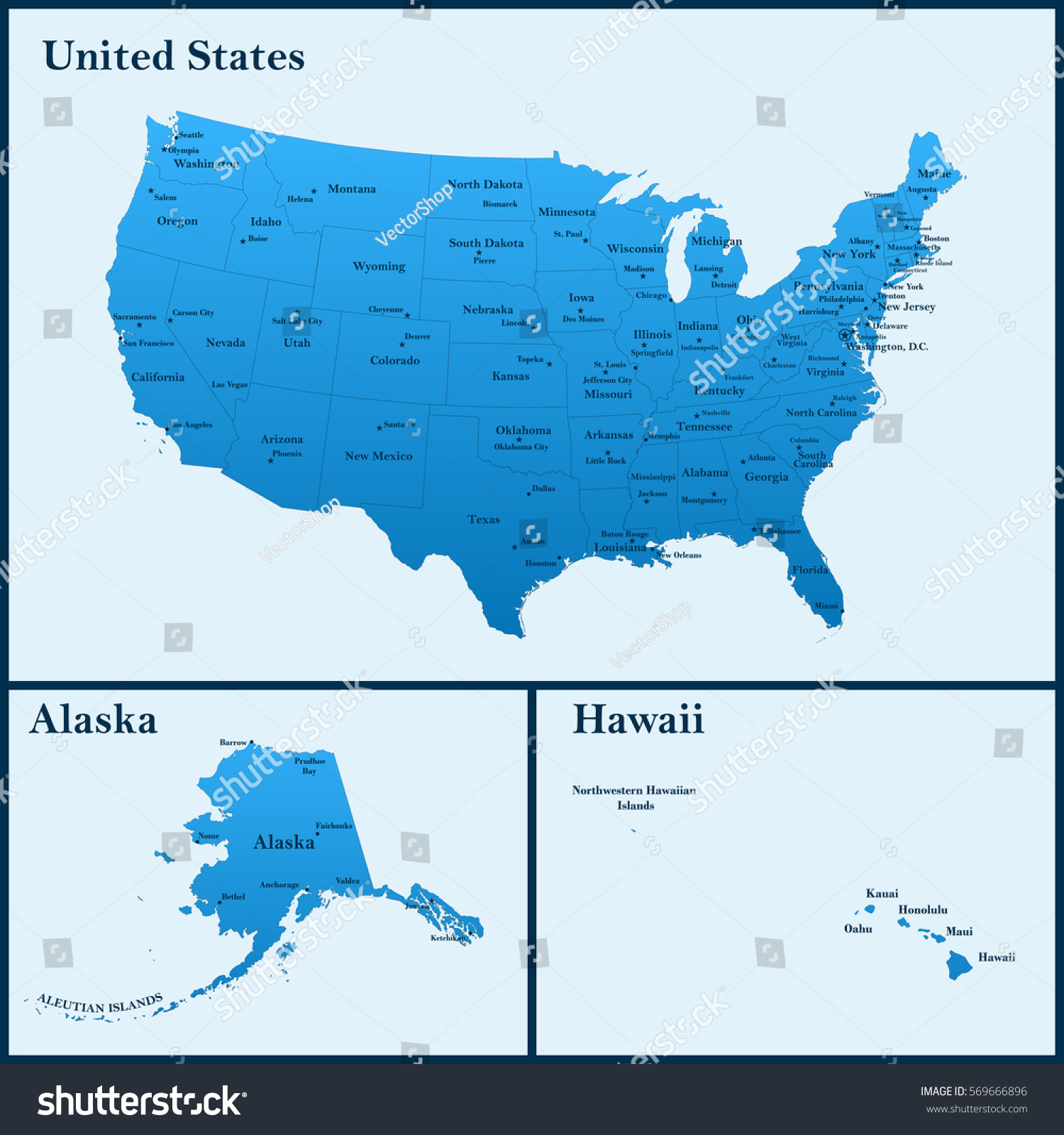 Detailed Map Usa Including Alaska Hawaii Stock Vector - Alaska map usa