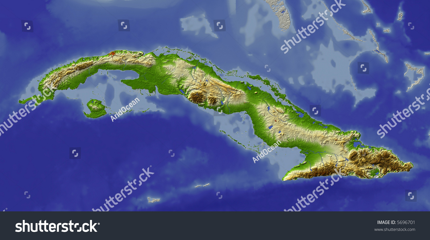 D Relief Map Cuba Shows Major Stock Illustration - Major cities map of cuba