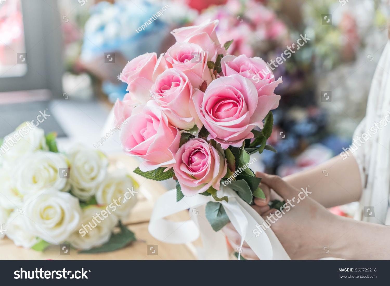 Hands Holding Bouquet Of Flower Vintage Lighting Style Ez Canvas
