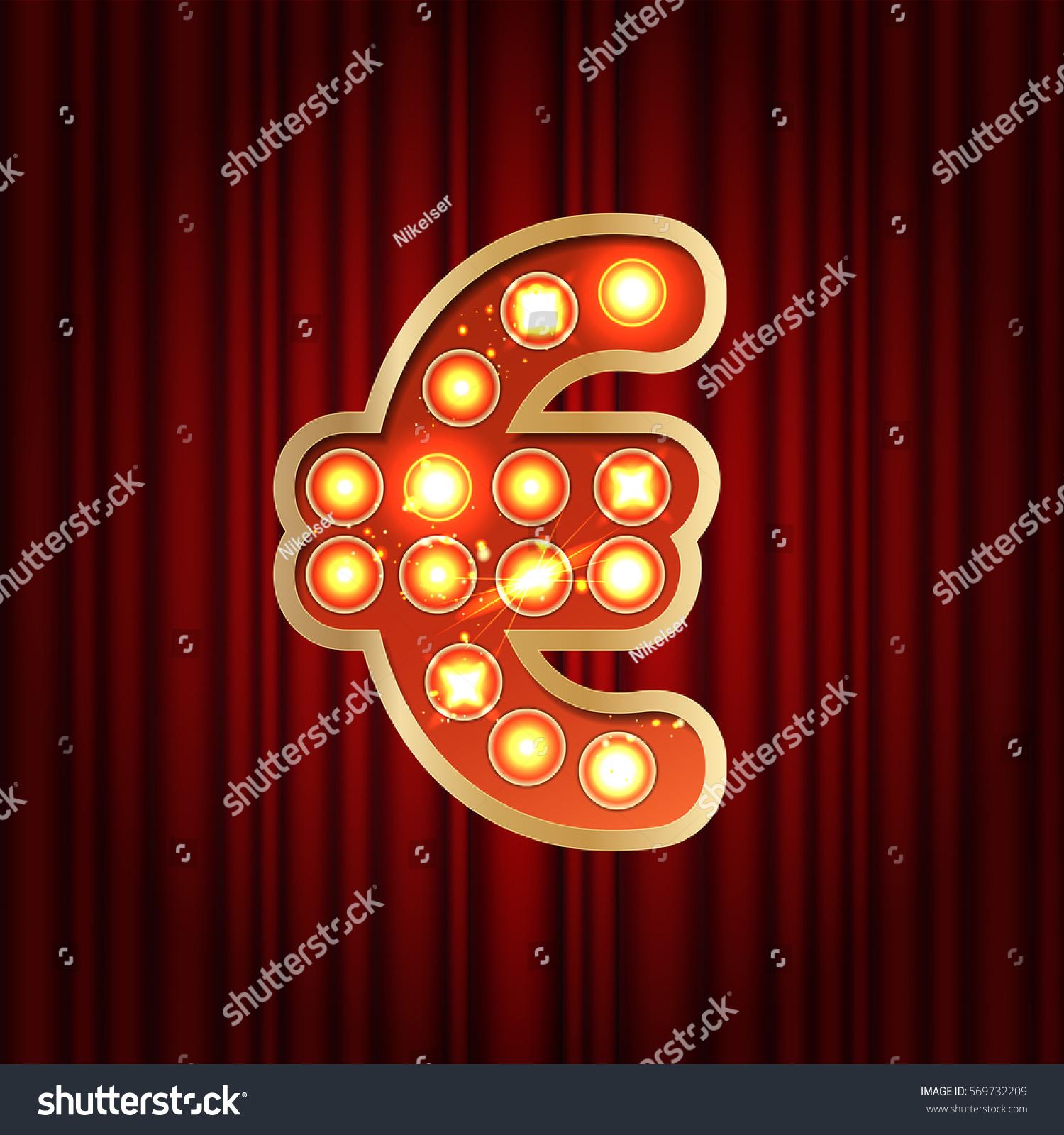 Realistic retro gold lamp bulb font stock vector 569732209 realistic retro gold lamp bulb font money symbol euro part of alphabet in vintage casino buycottarizona Gallery