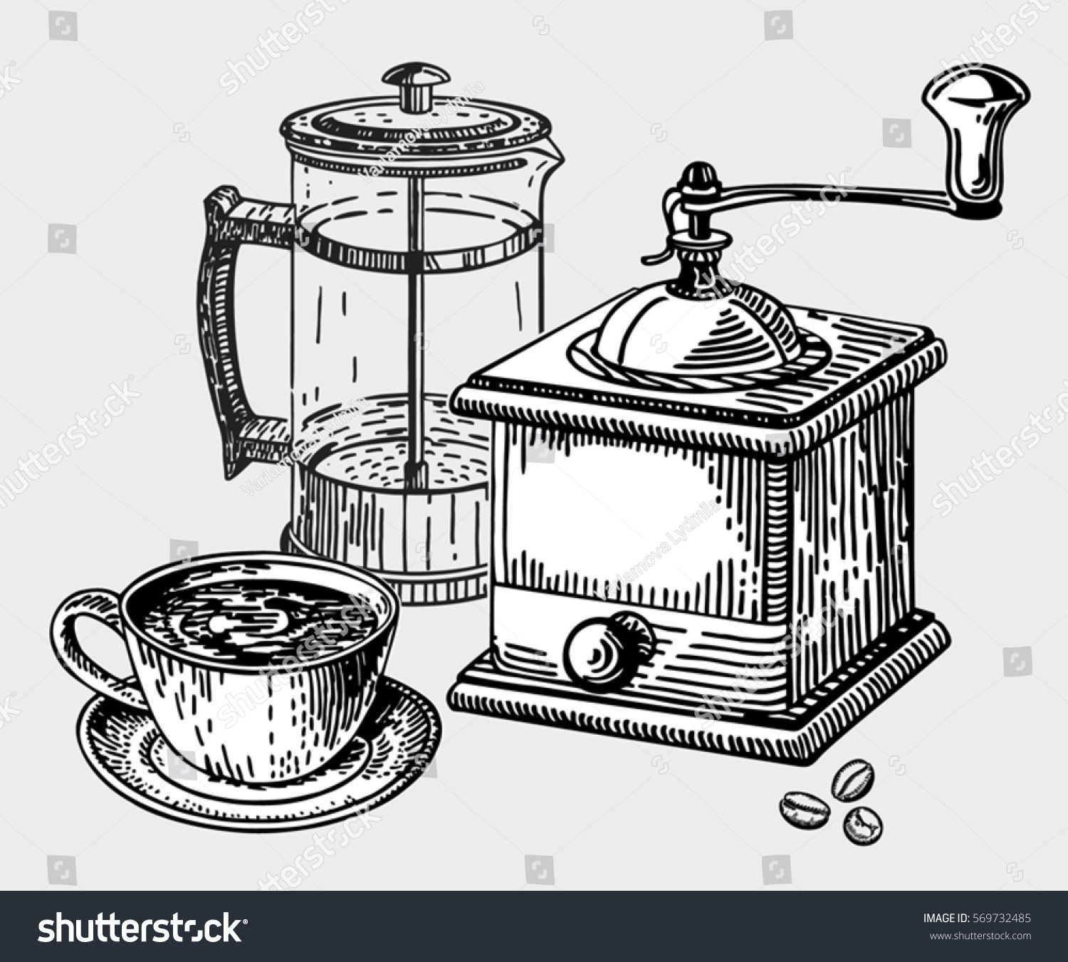 Coffee Grinder Drawing ~ Hand drawn coffee set mill stock vector