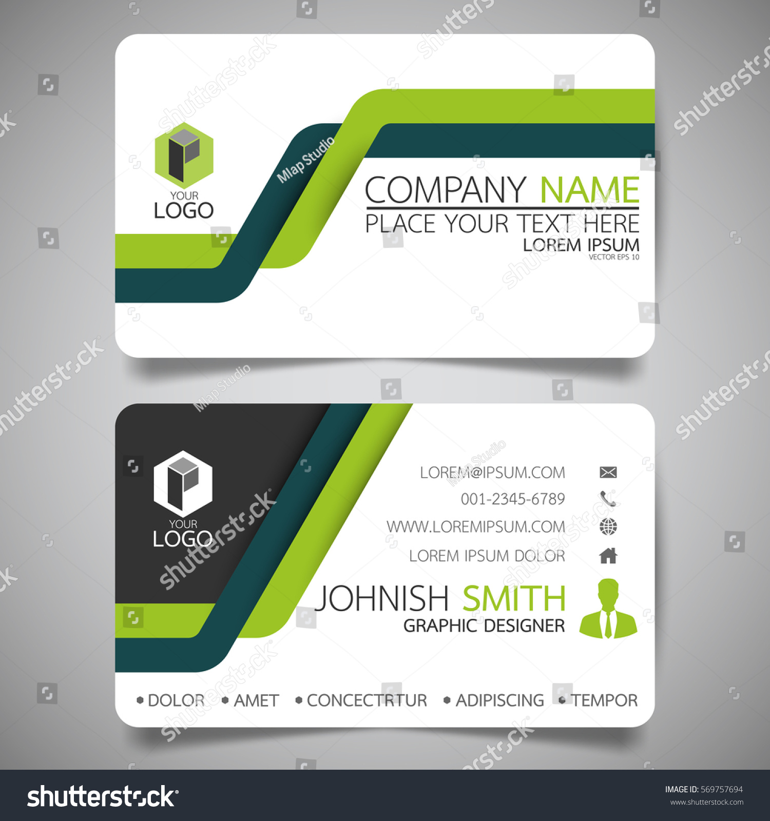 green line modern creative business card stock vector