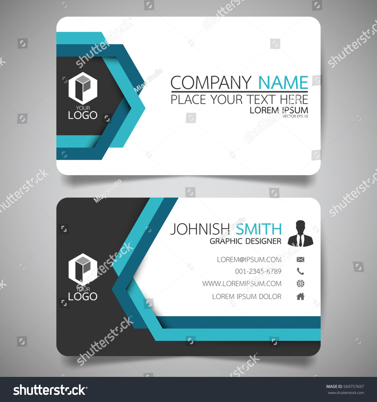 Blue Line Modern Creative Business Card Stock Vector 569757697 ...