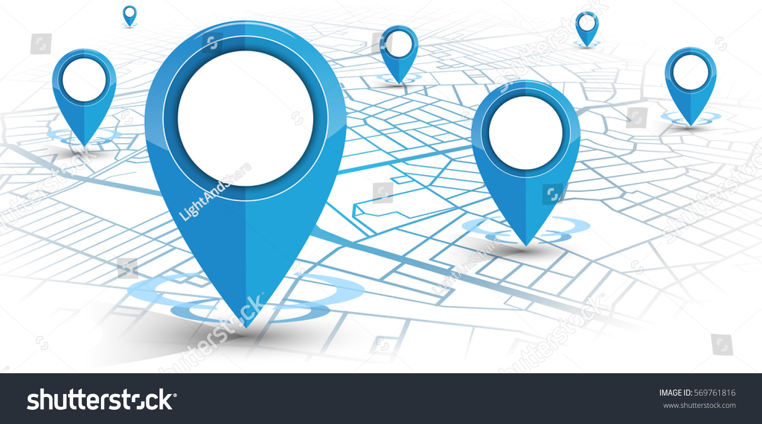 GPS.navigator pin blue color mock up with map on white background. vector illustration #569761816