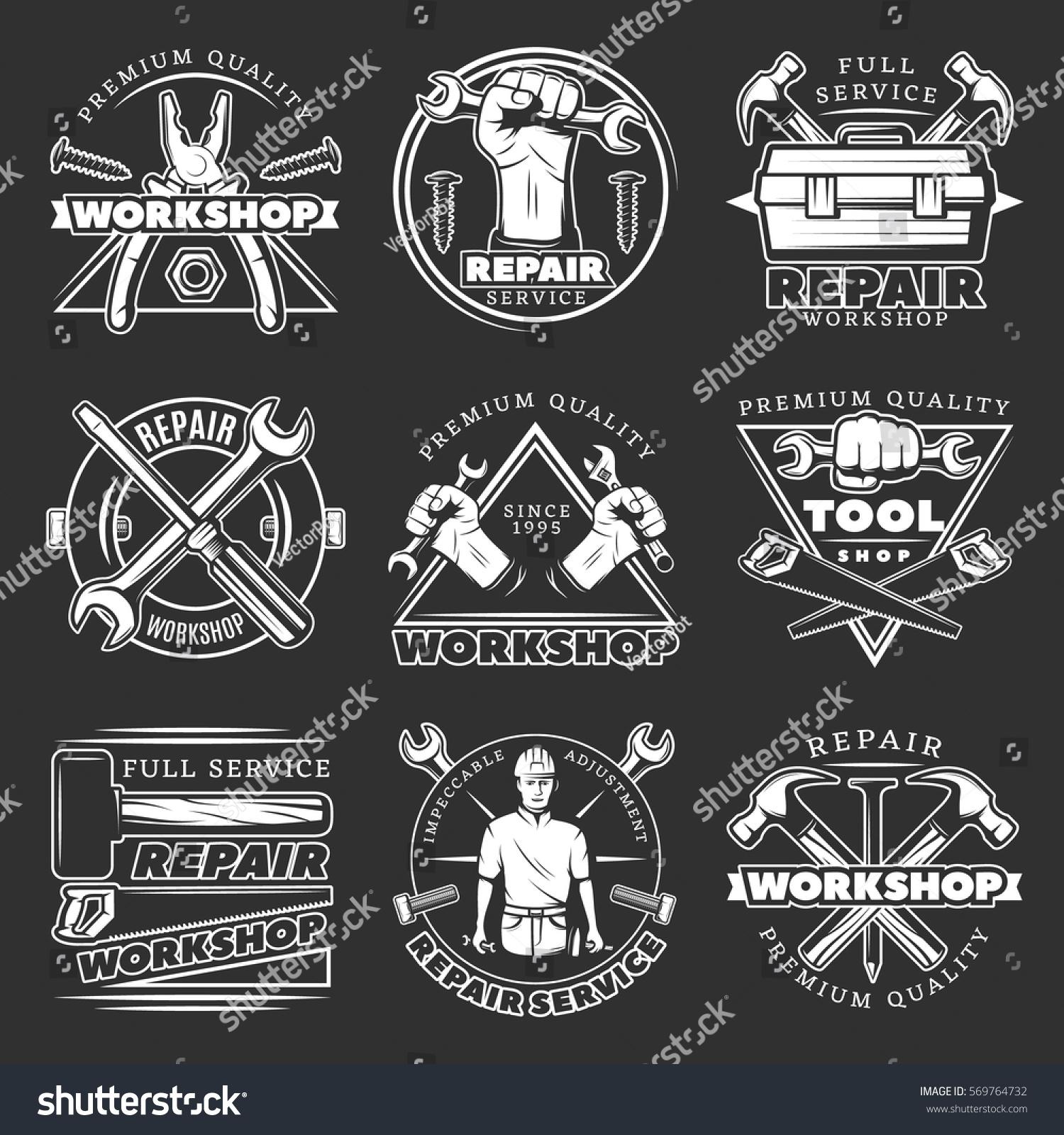 White Isolated Vintage Repair Workshop Logo Stock Vector 569764732