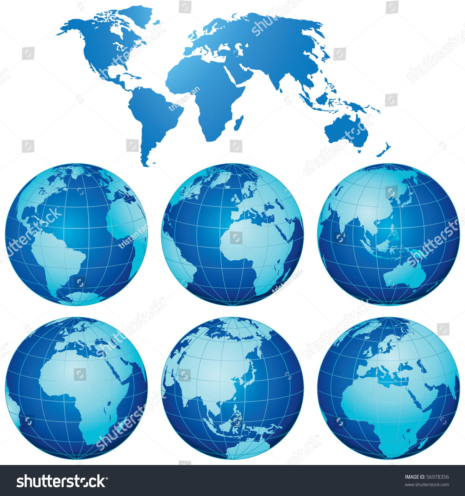 Vector world map globes set stock vector 56978356 shutterstock vector world map with globes set gumiabroncs Images