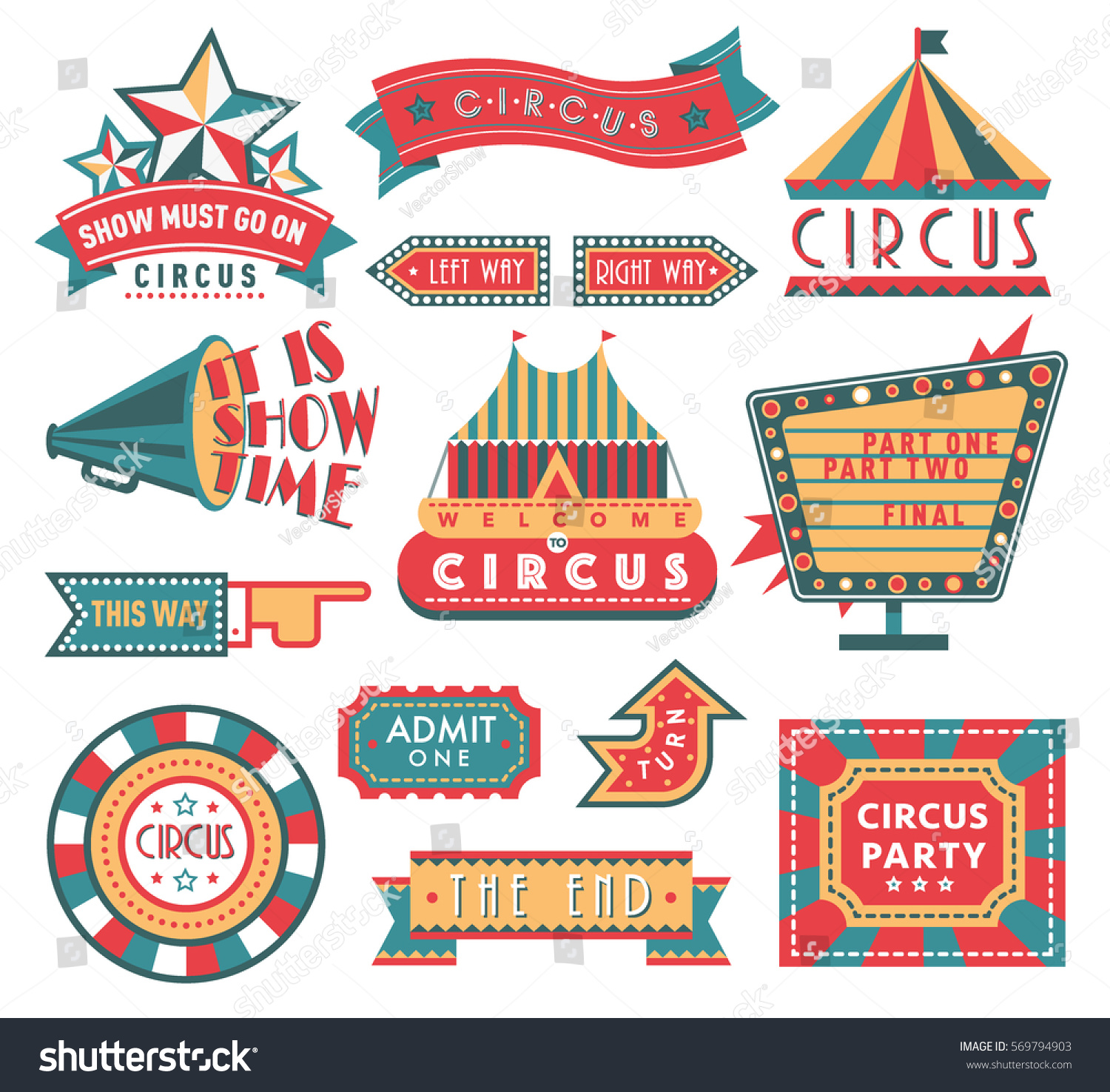 Circus Vintage Labels Banner Vector Illustration Stock