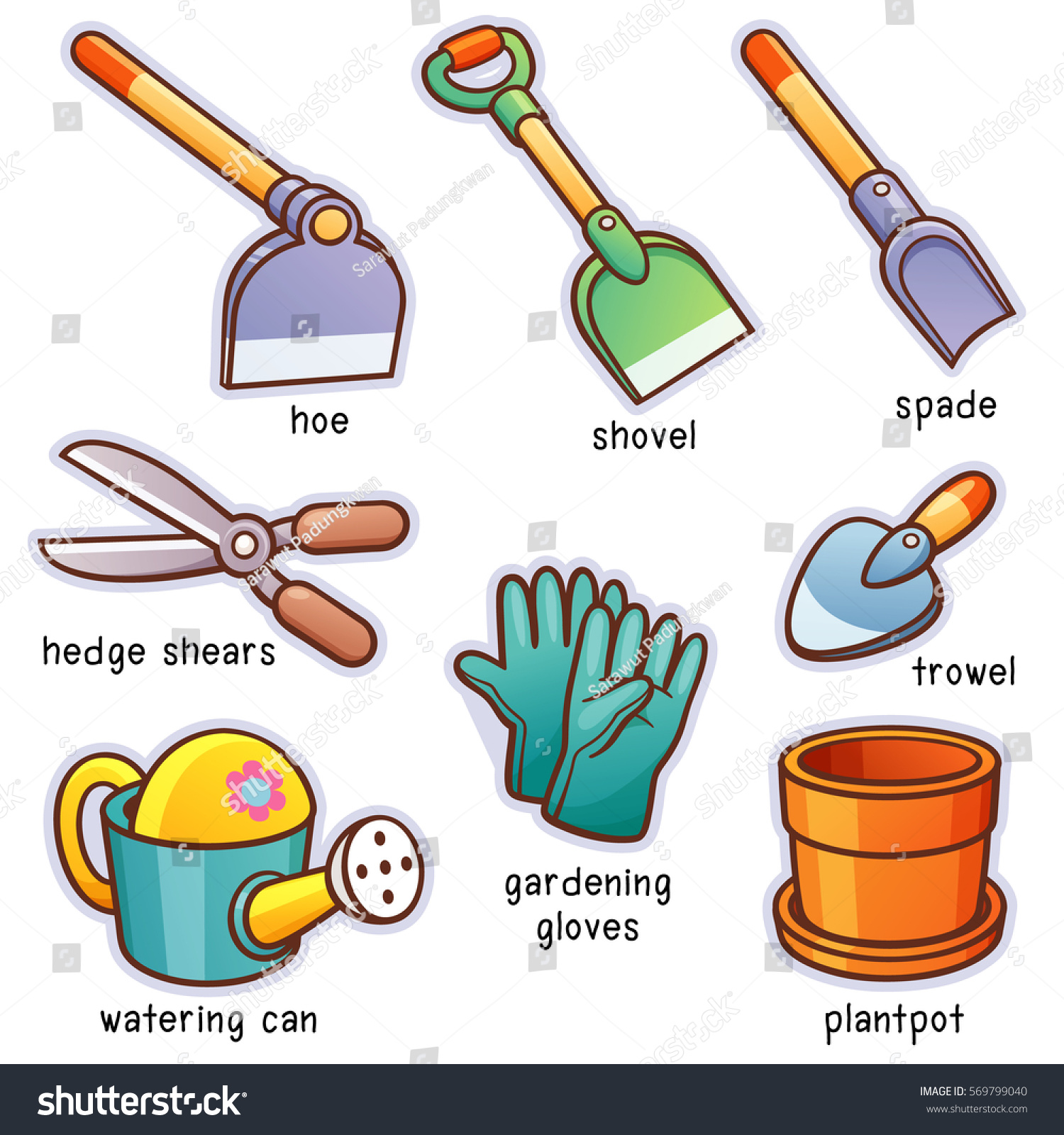 Vector illustration cartoon garden tools vocabulary stock for Gardening tools cartoon