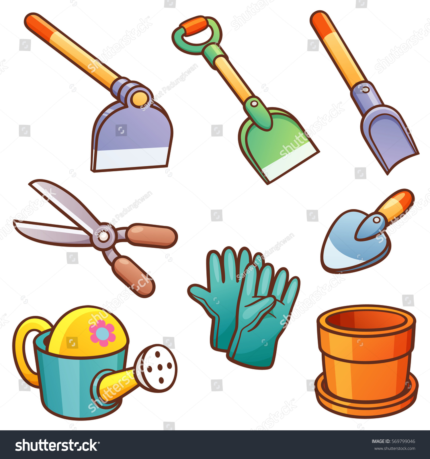 Vector illustration cartoon garden tools stock vector for Gardening tools cartoon