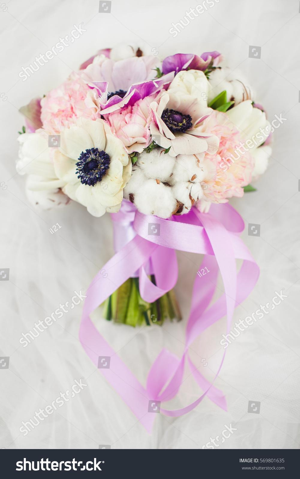 Wedding Bouquet Delicate Peonies Dahlias Decorated Stock Photo Edit