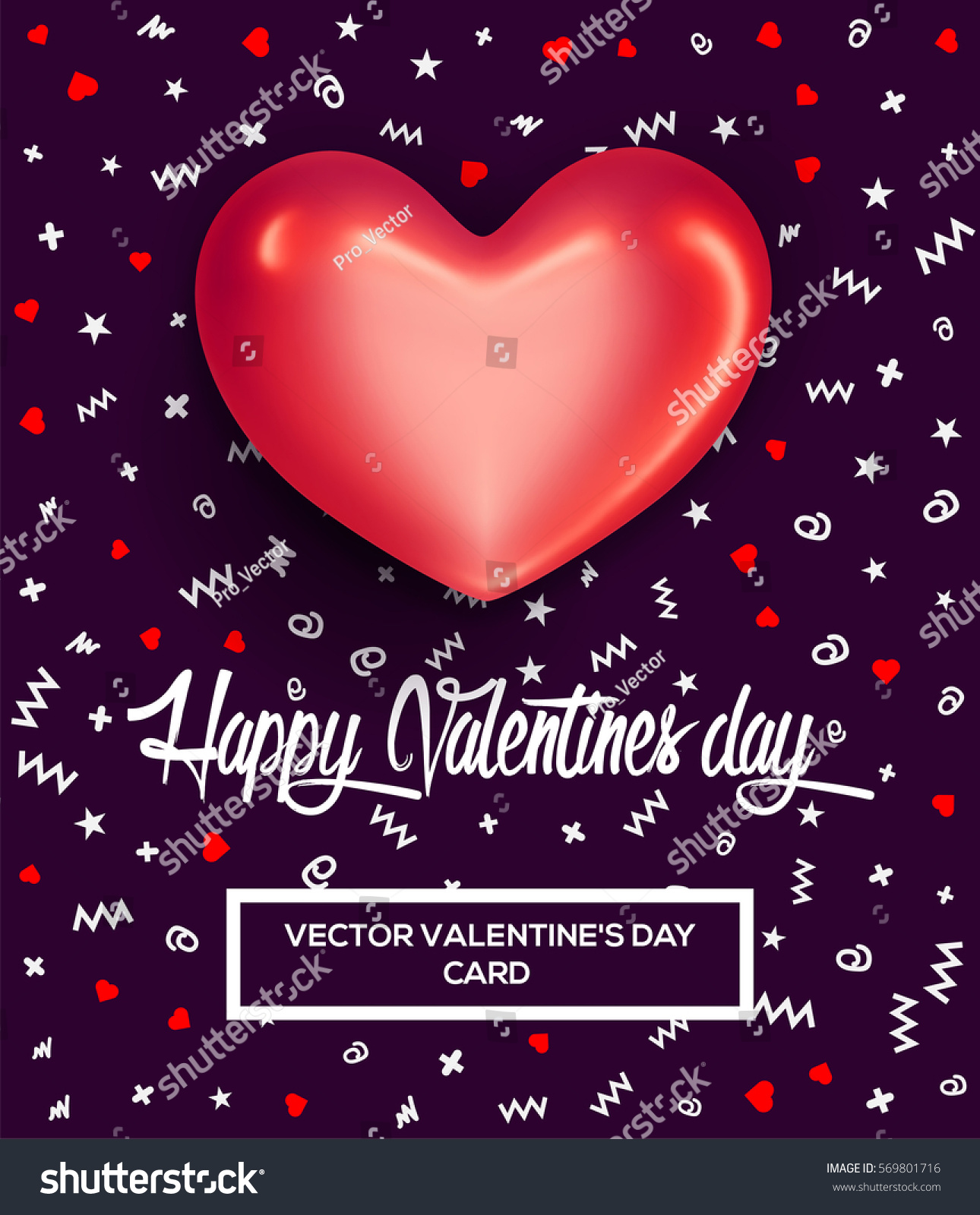 Happy Valentines Day Greeting Card Poster Vector 569801716 – Valentine Day Greetings Card
