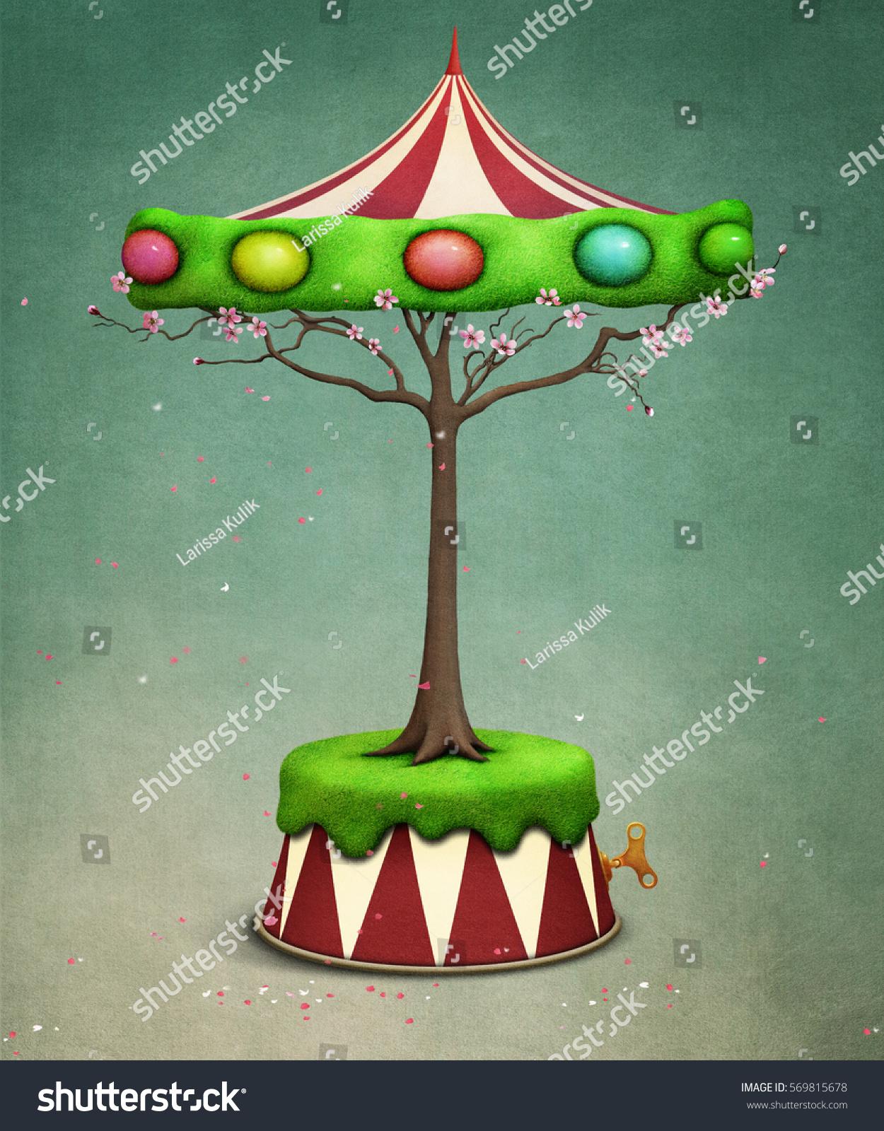 Holiday Greeting Card Fantasy Tree Carousel Stock Illustration