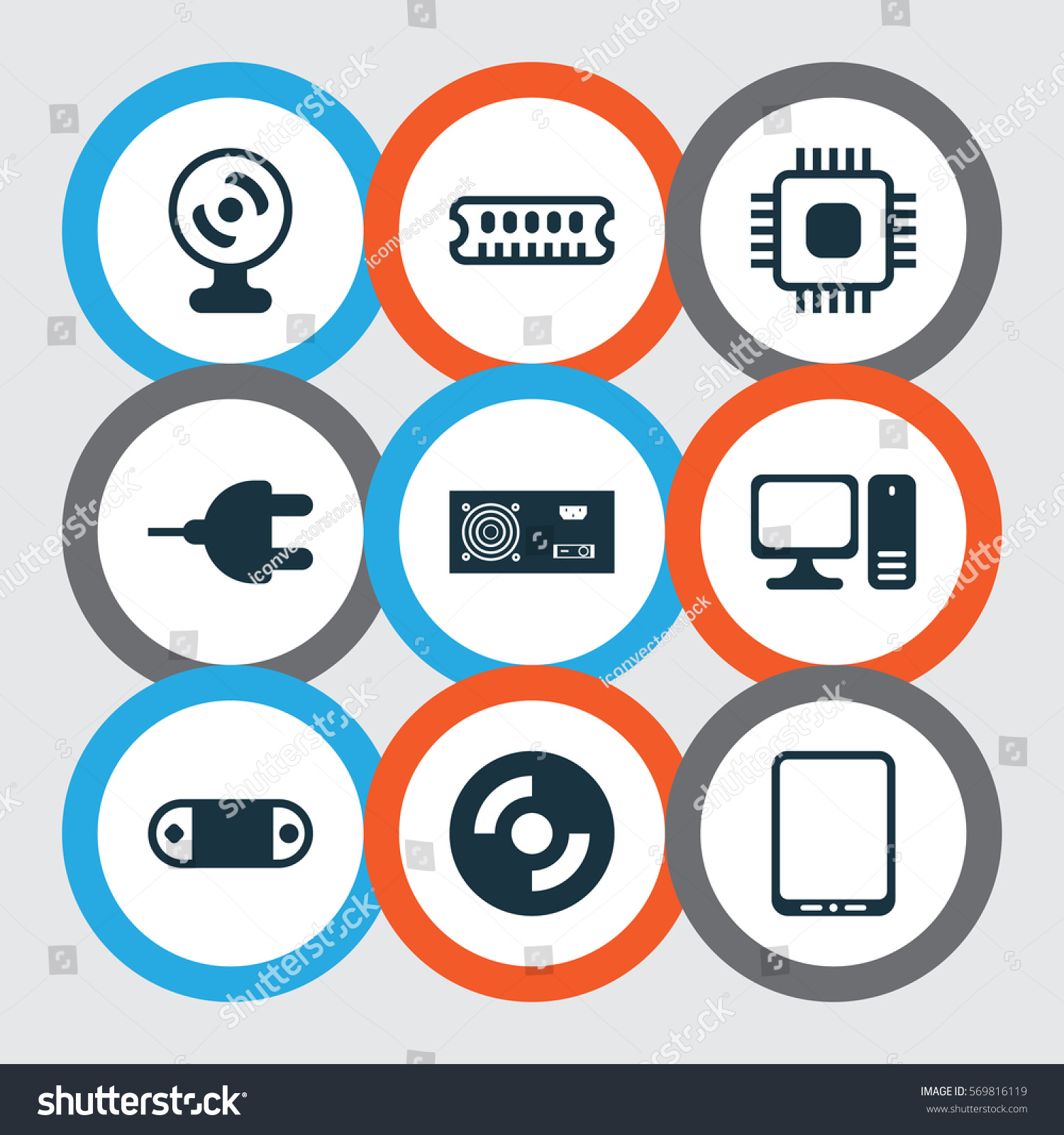 Set 9 Computer Hardware Icons Includes Stock Photo (Photo, Vector ...