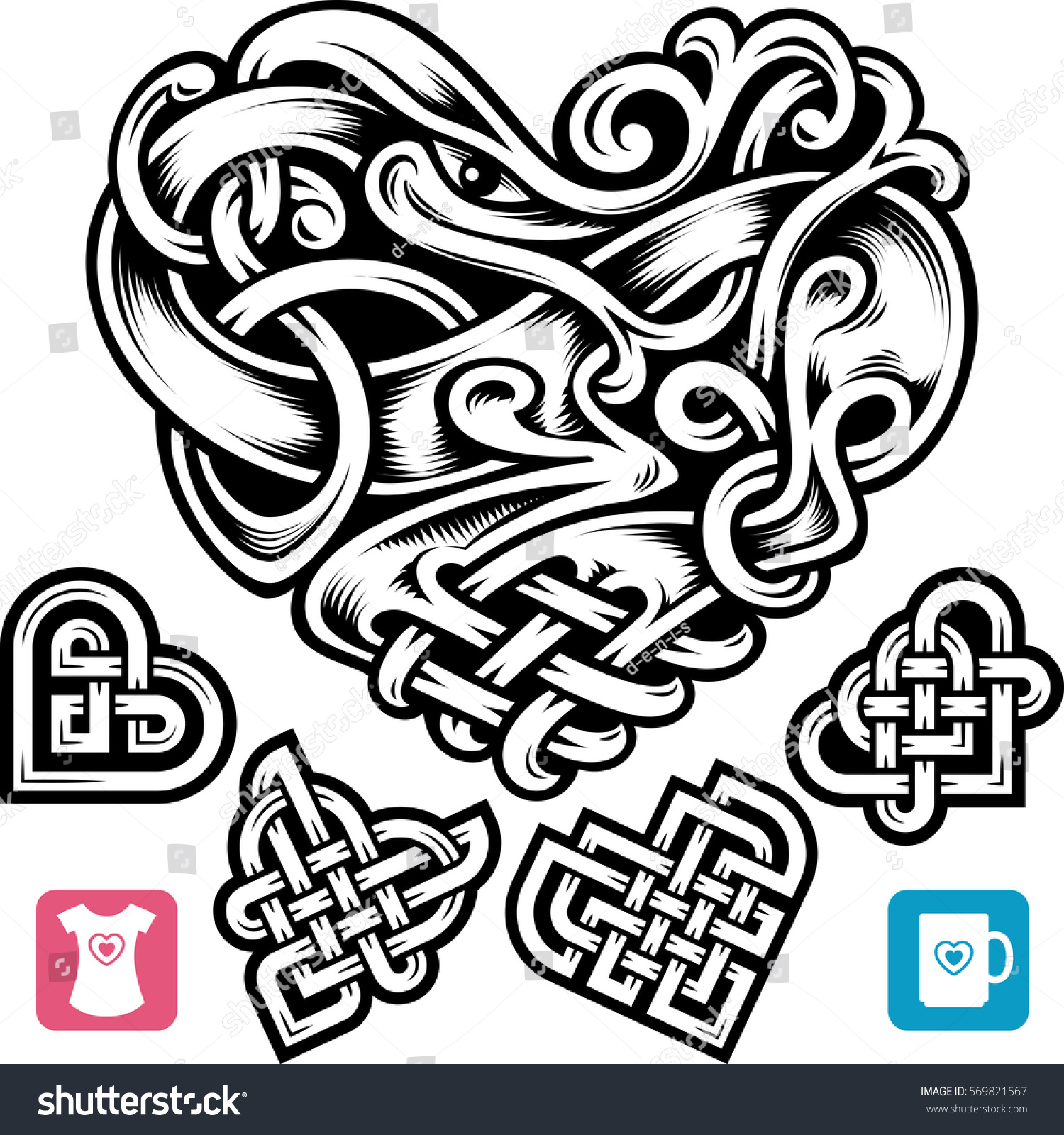 Vector celtic heart set cute small stock vector 569821567 vector celtic heart set cute small irish tattoo or romantic symbol in the medieval design buycottarizona Choice Image