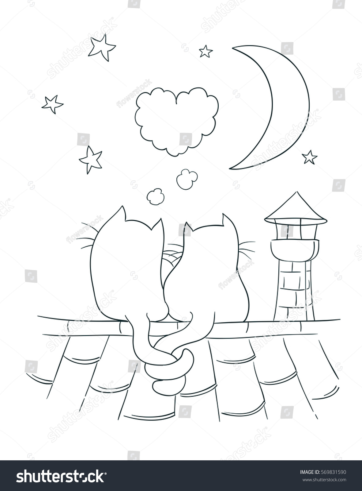 two little cute cats on roof stock vector 569831590 shutterstock