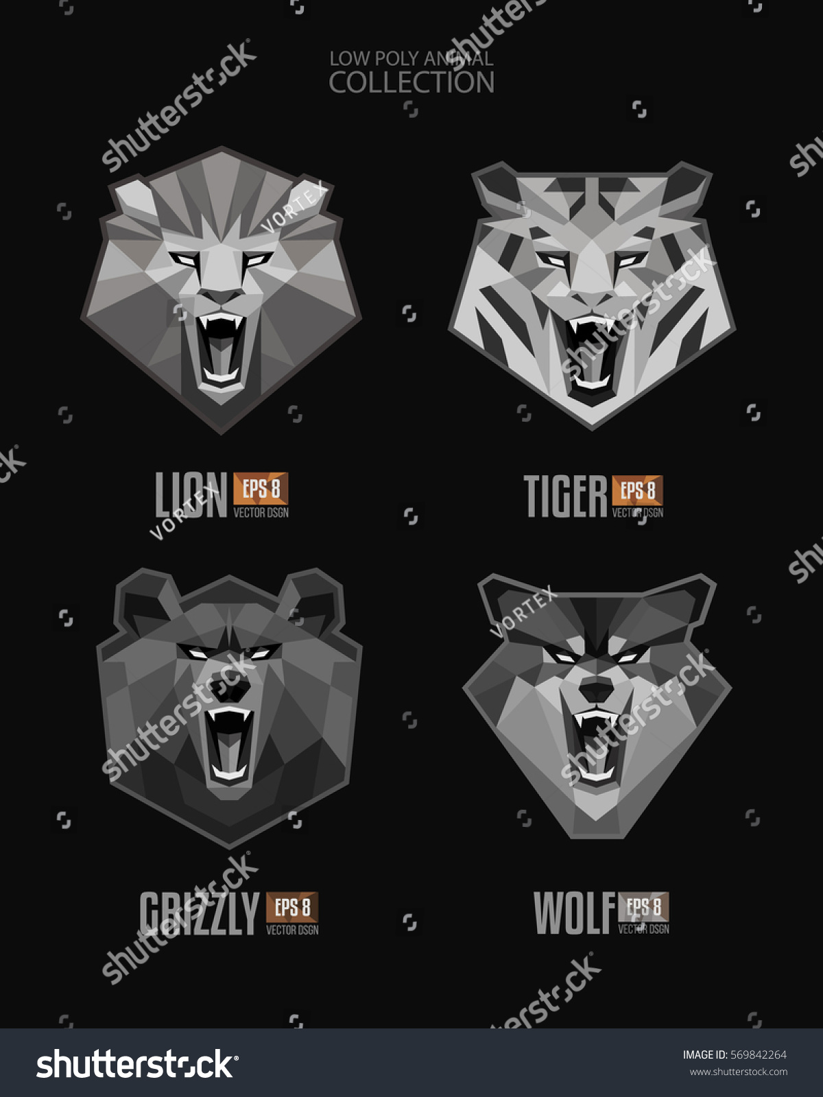 Tiger head triangular icon geometric trendy stock vector image - Vector Set Of Monochrome Trendy Low Polygon Angry Animals Roaring Lion Tiger Bear Wolf Mascot Face