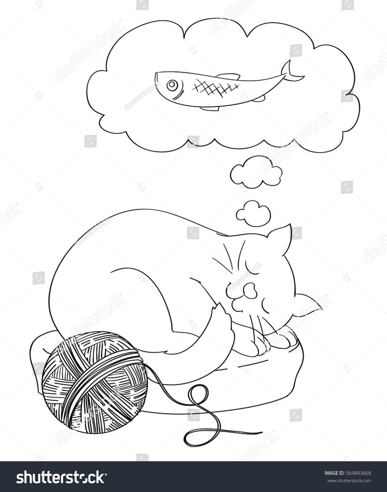 cute cartoon cat dreaming fish food stock vector 569843668