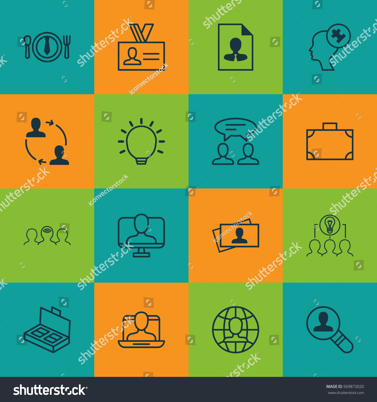 Set 16 Business Management Icons Includes Stock Vector