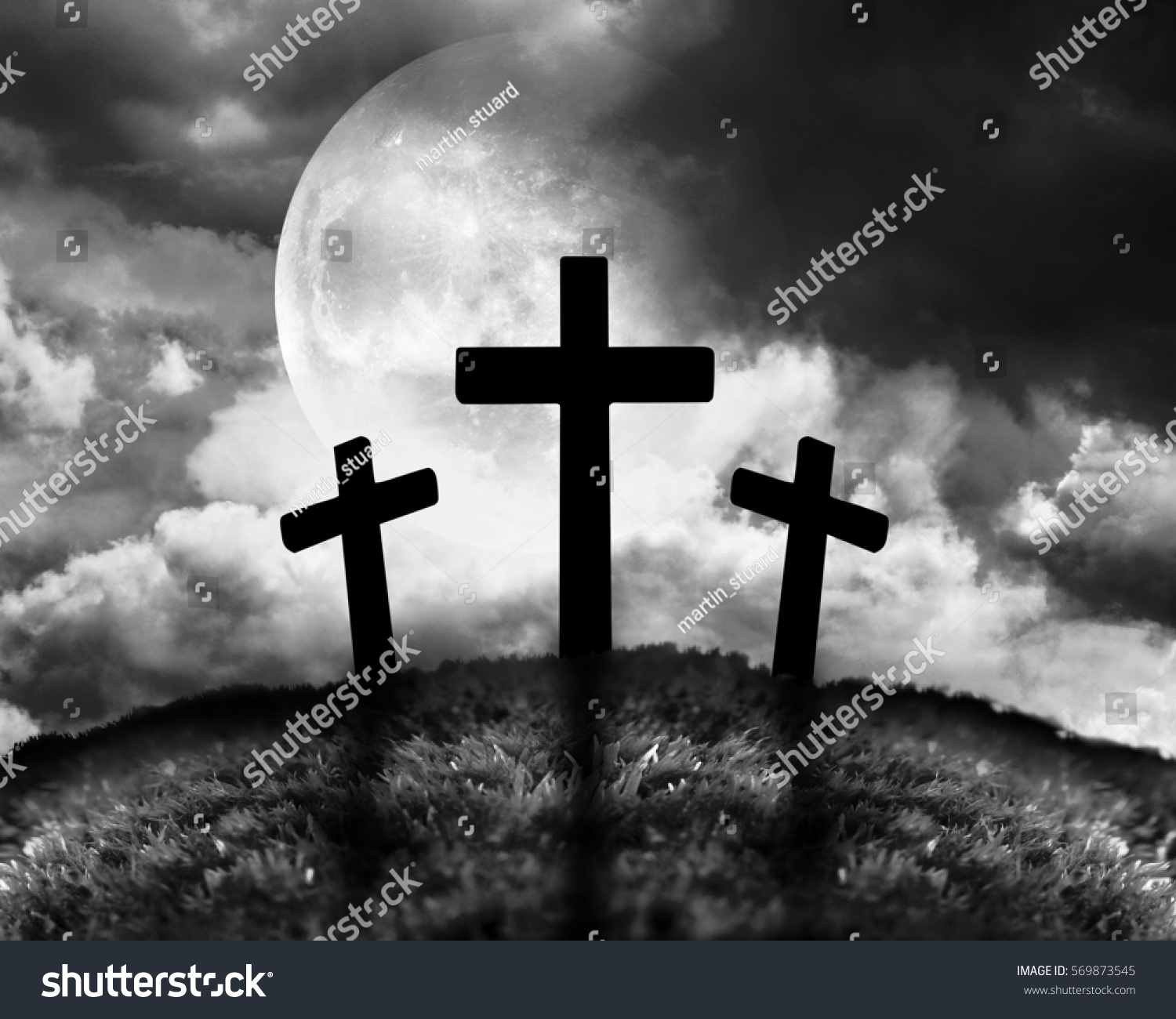 Silhouette three crosses on hill moon stock illustration 569873545 silhouette of three crosses on a hill with a moon behind them biocorpaavc