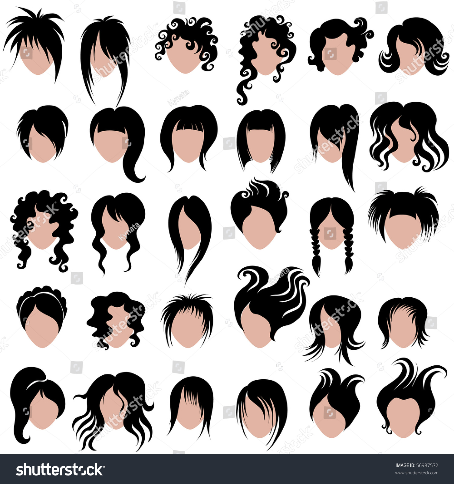 Vector Set Black Hair Styling Woman Stock Vector 56987572 Shutterstock