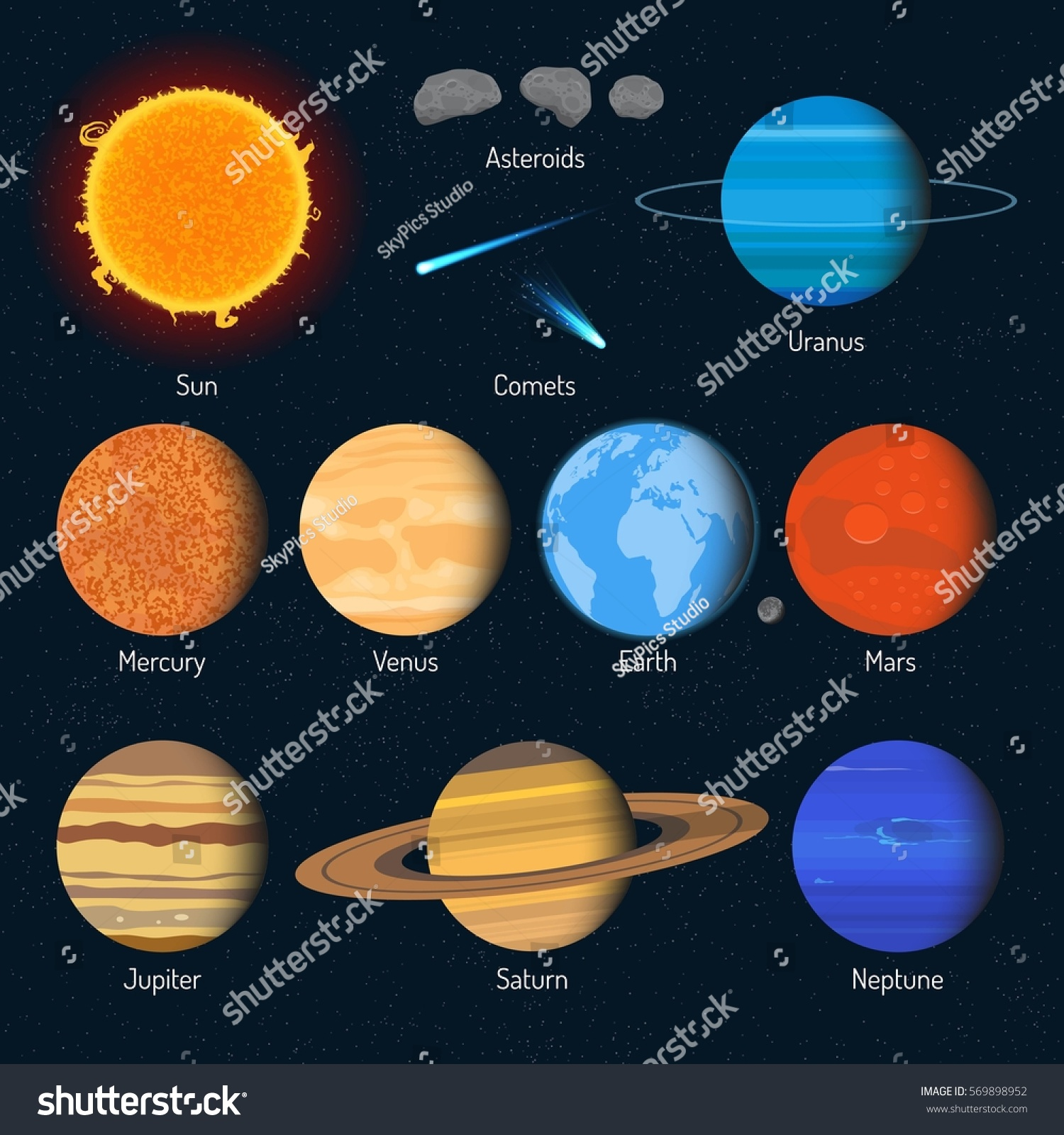 Set solar system planets outer space stock illustration for Outer space planning and design