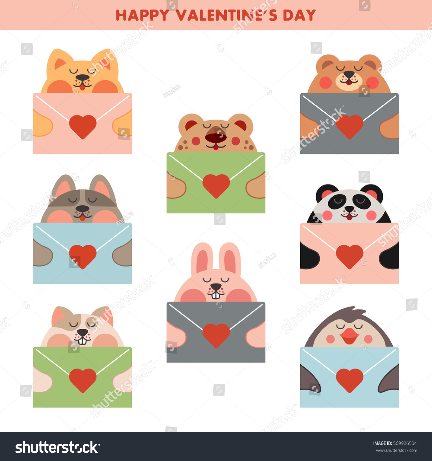 Image of: Shutterstock Cute Love Cards With Kawaii Animals Cat Dog Hamster Rabbit Bear Shutterstock Cute Love Cards Kawaii Animals Cat Stock Vector royalty Free