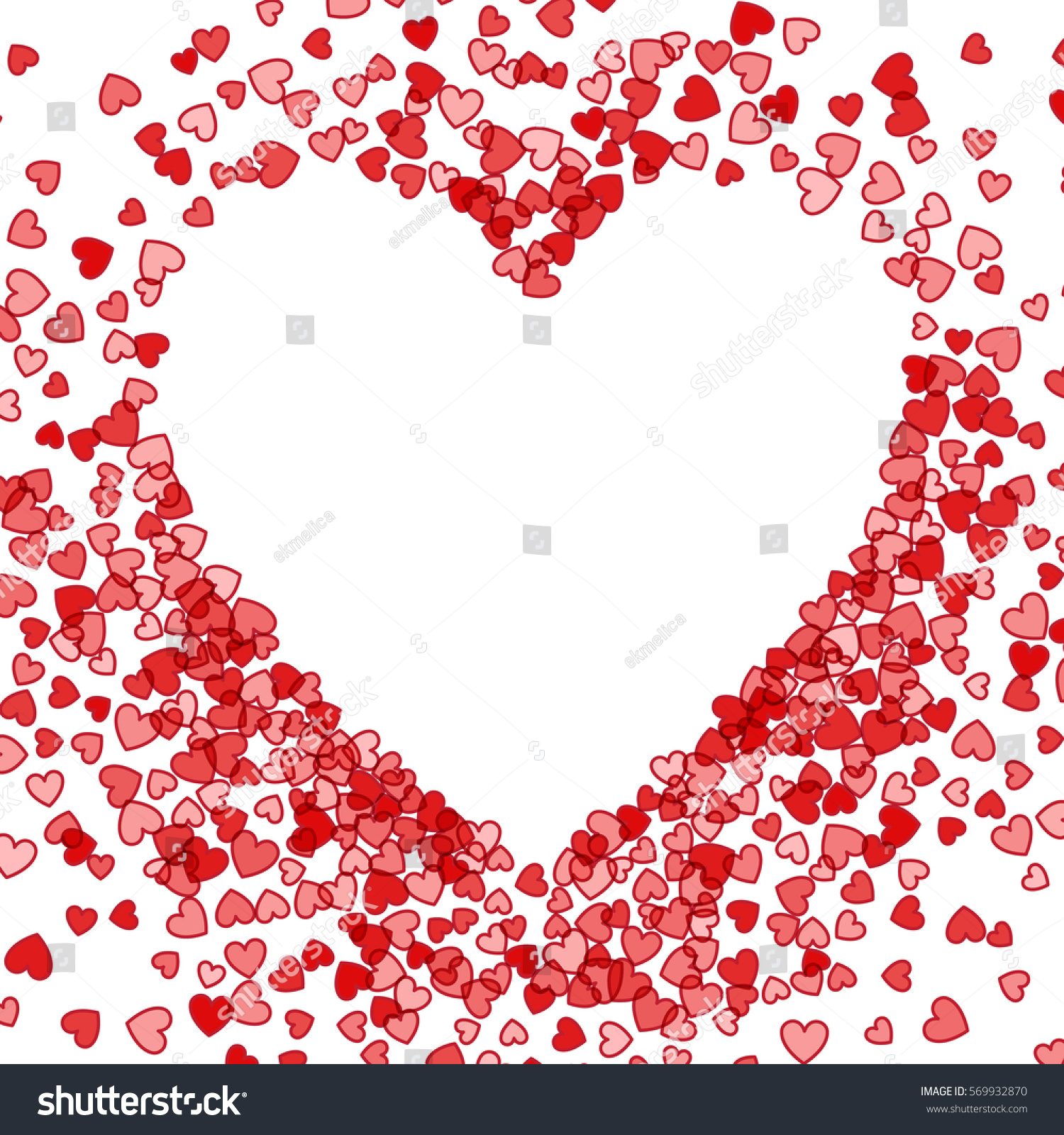 Red Frame Scatter Confetti Shape Heart Stock Vector (Royalty Free ...