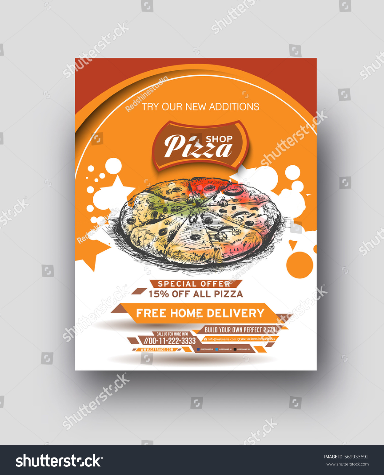 pizza shop flyer poster template vector stock vector 569933692 shutterstock. Black Bedroom Furniture Sets. Home Design Ideas