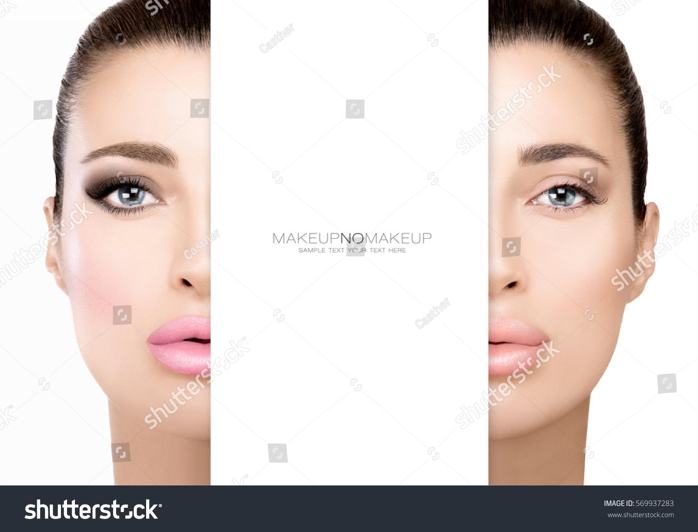 Makeup No Makeup Face One Woman Halved Stock Photo Edit Now