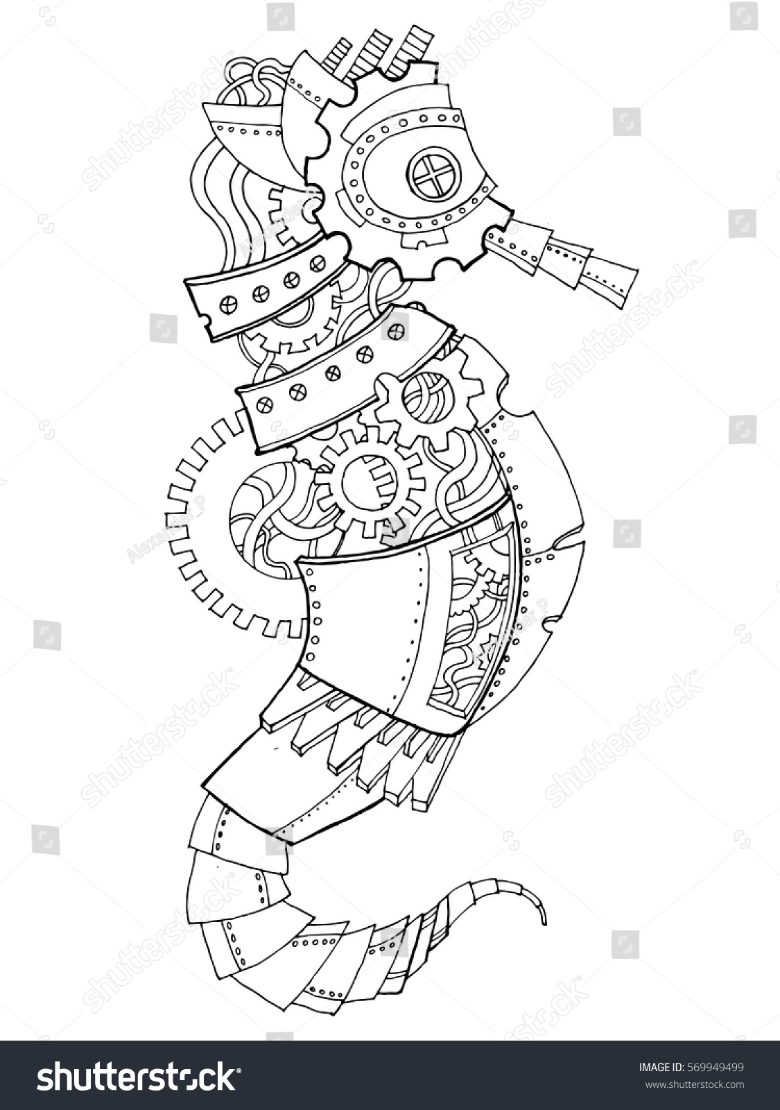 Steampunk Style Sea Horse Mechanical Animal Coloring Book Vector Illustration
